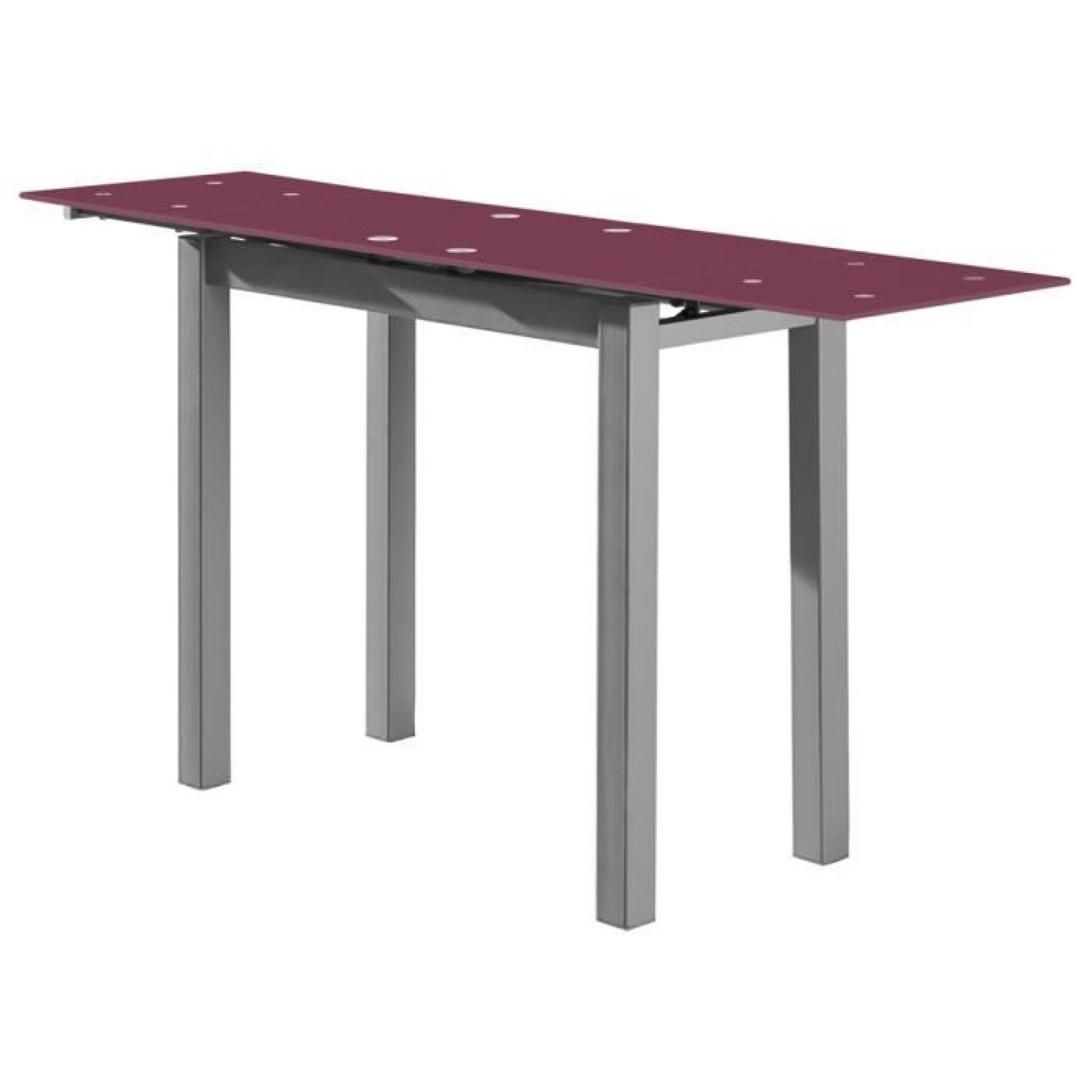 Table extensible en verre prune acier gris 850 1450 x 400 for Table en verre but