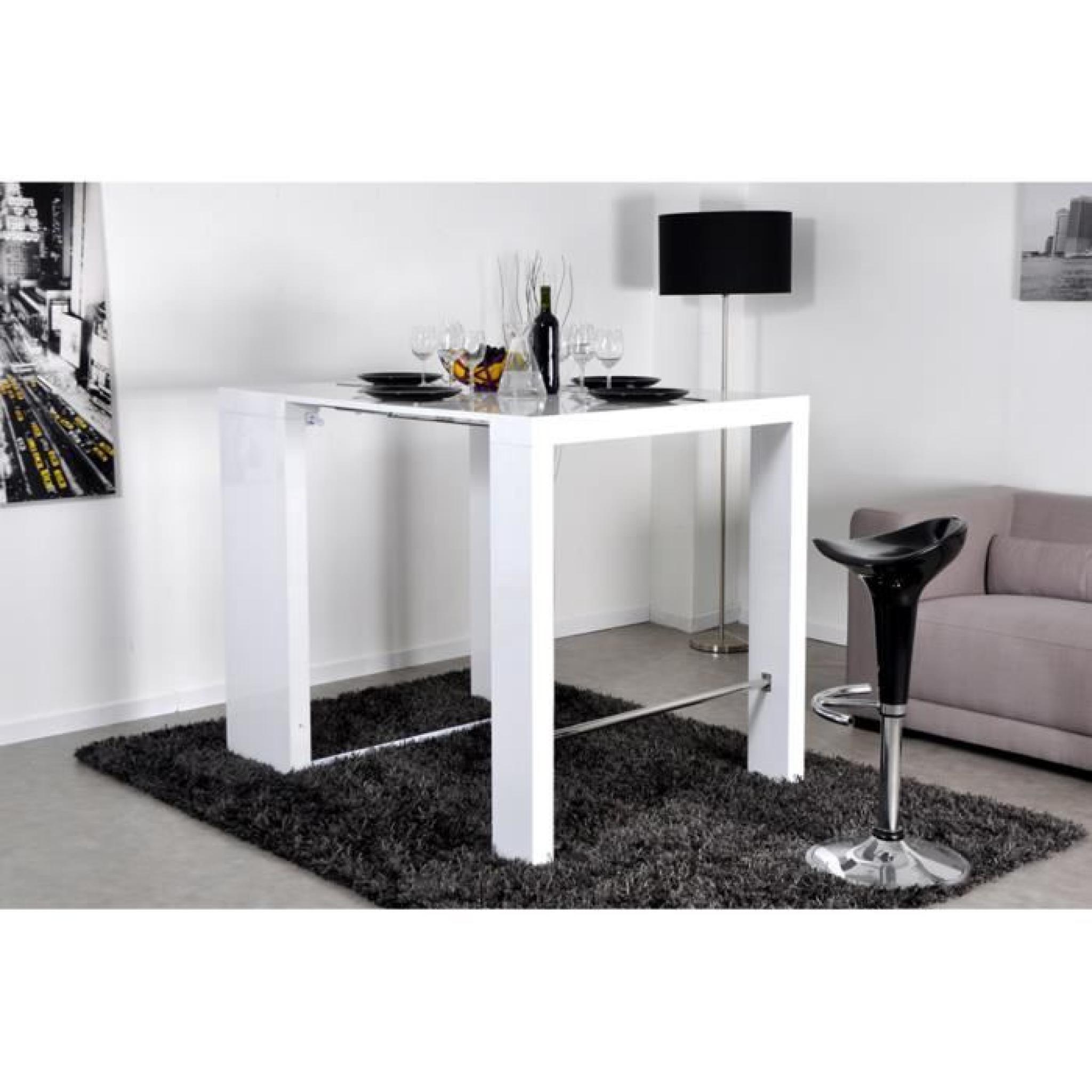 Table haute console extensible 2 rallonges blanc laqu - Salle a manger blanc laque pas cher ...
