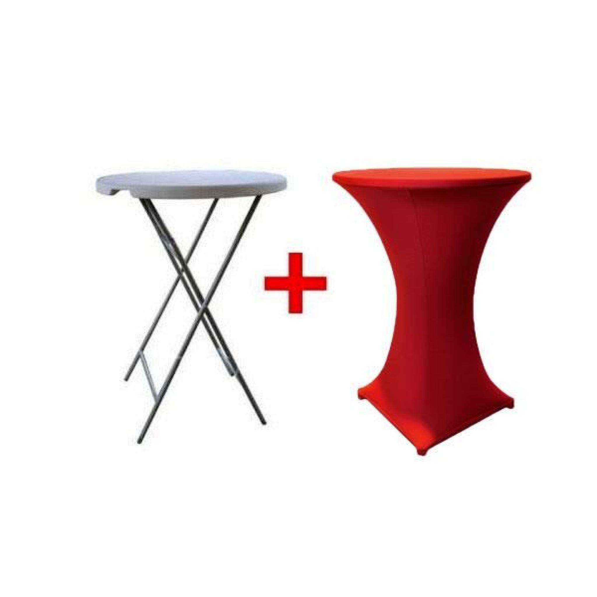 table haute mange debout nappe rouge achat vente table. Black Bedroom Furniture Sets. Home Design Ideas
