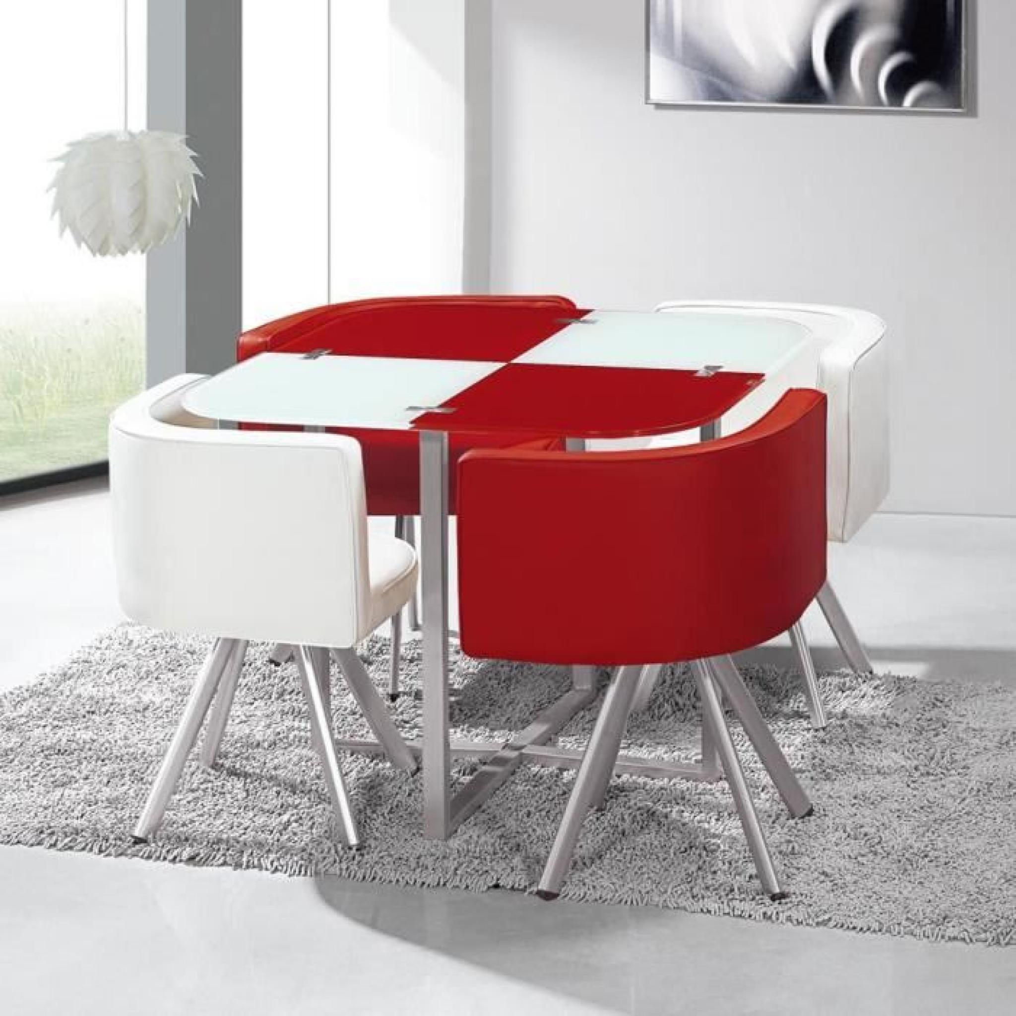 Table Et Chaises Mosaic 90 Blanc Et Rouge