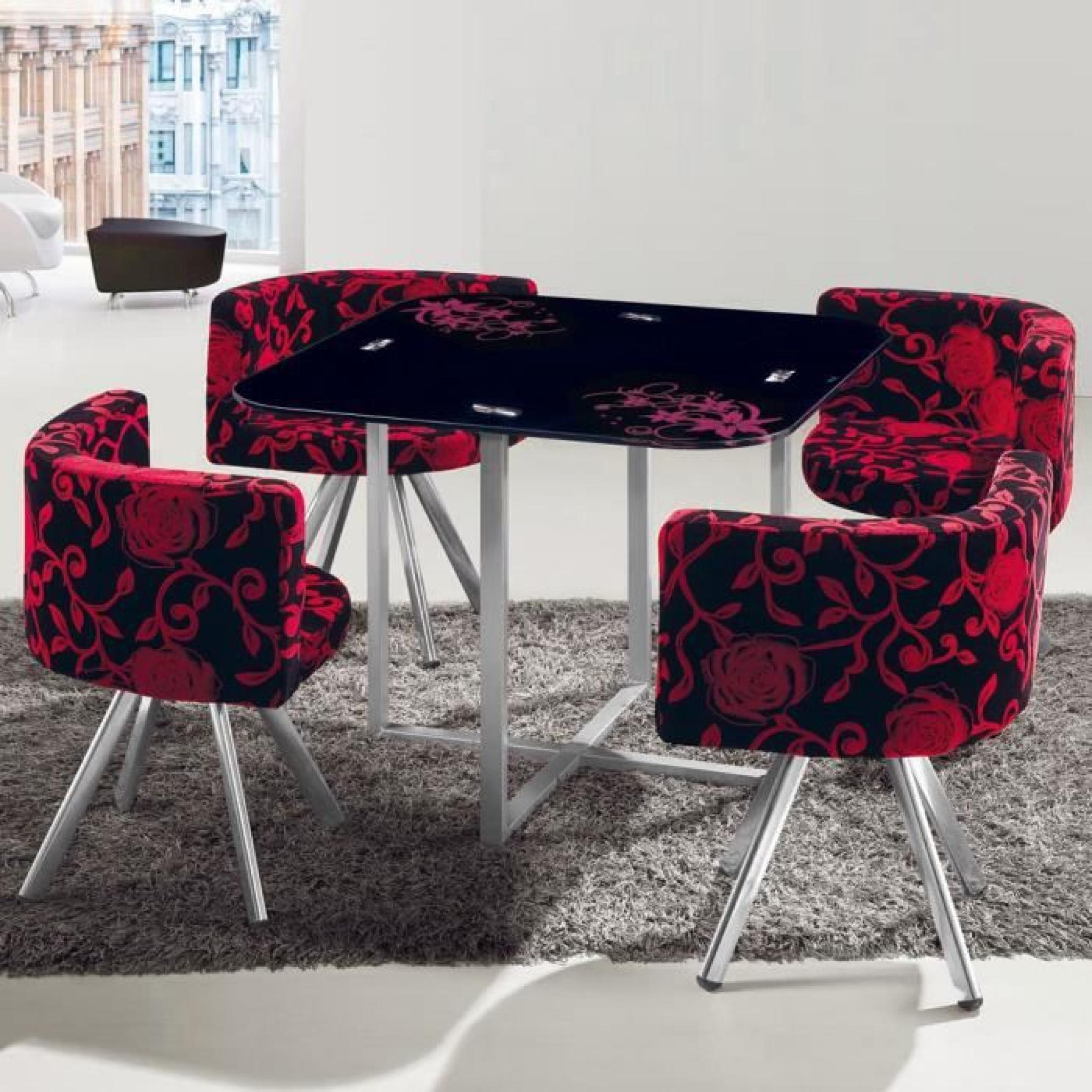 Table Et Chaises Mosaic 90 Fleurs Rouge Noir Pas Cher