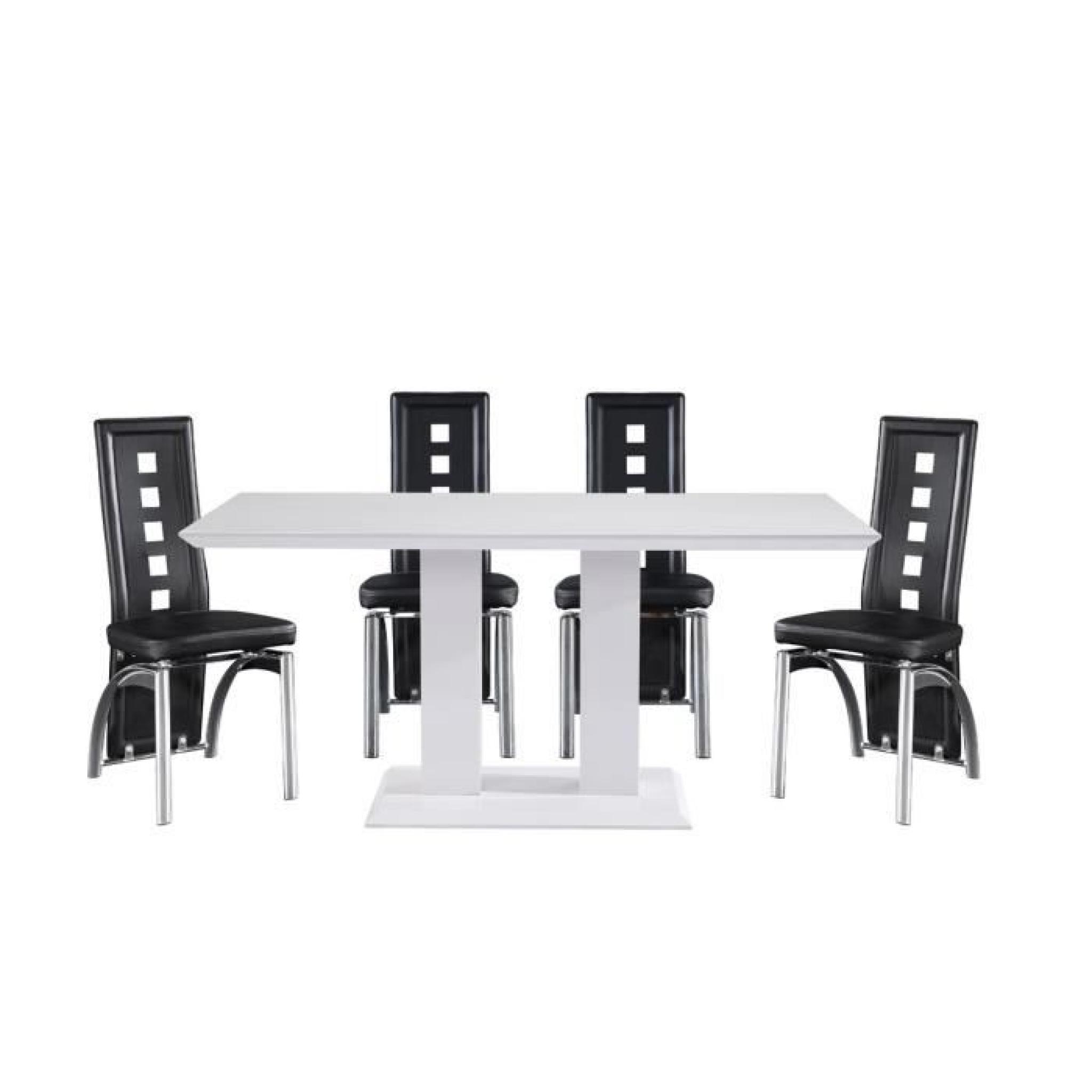 Table repas alina en mdf laqu blanc achat vente table - Salle a manger blanc laque pas cher ...
