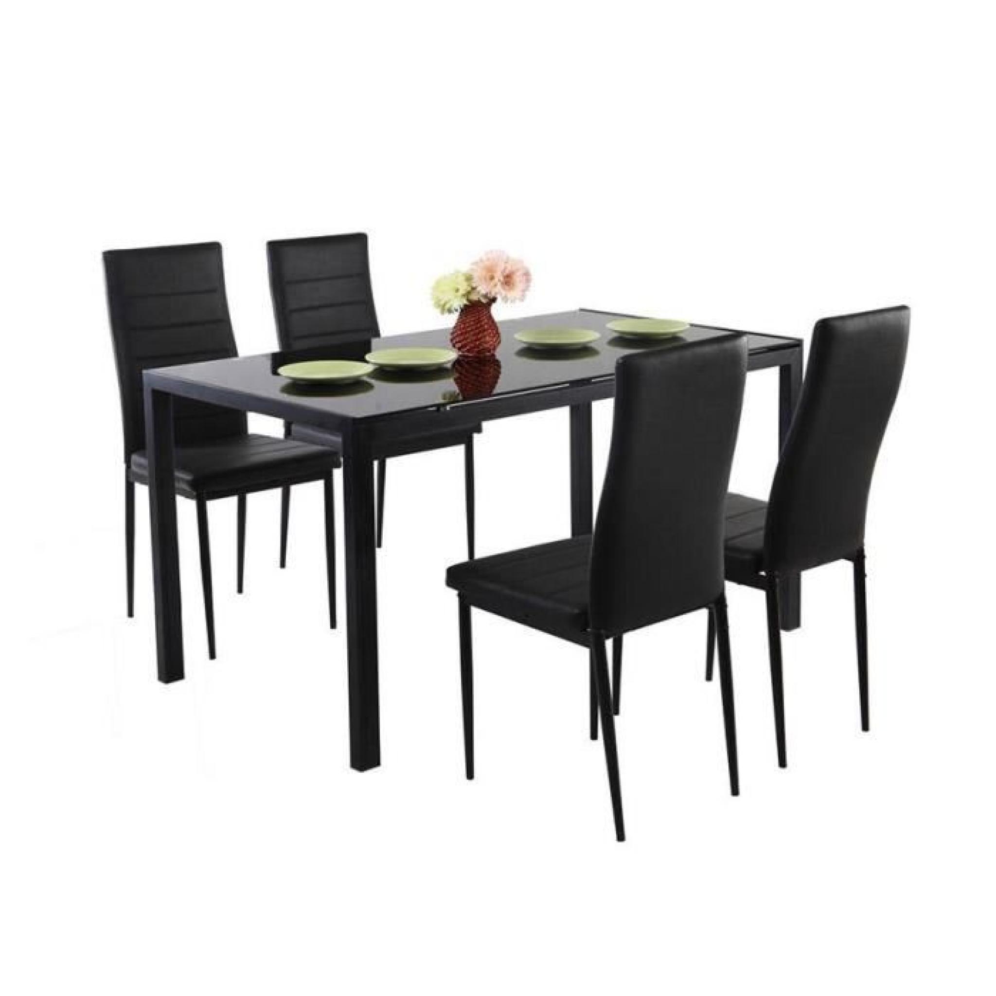 . Table repas avec 4 chaises noires Babel 120 x 80 cm.
