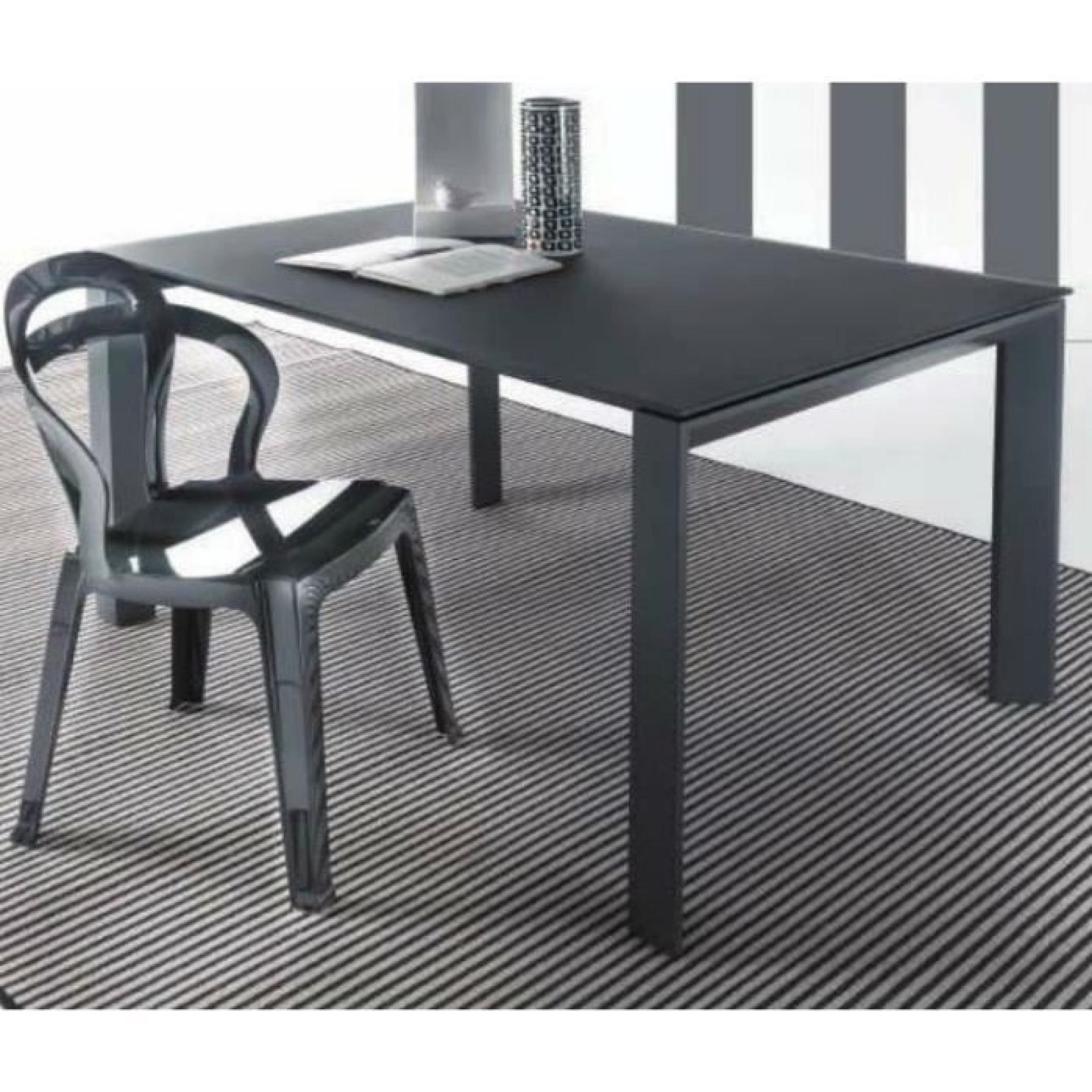 table repas extensible sliver en verre 140 x 9 achat vente table salle a manger pas cher. Black Bedroom Furniture Sets. Home Design Ideas