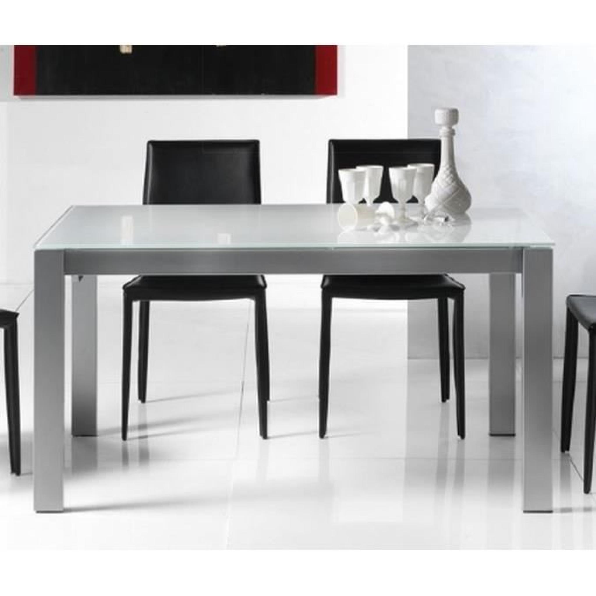 Table repas extensible twelve 140 x 85 cm verre achat for Table verre blanc extensible