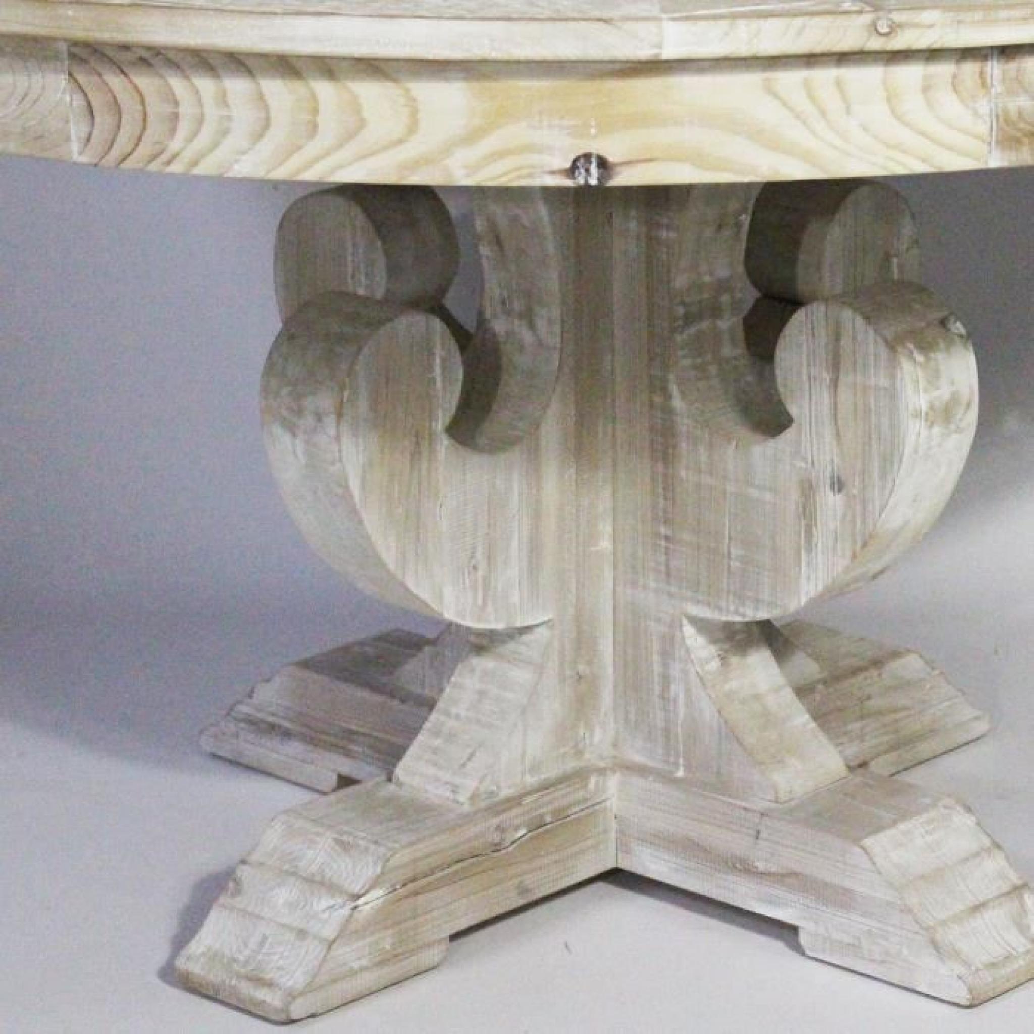 table ronde avec pied central authentiq en bois recycl. Black Bedroom Furniture Sets. Home Design Ideas
