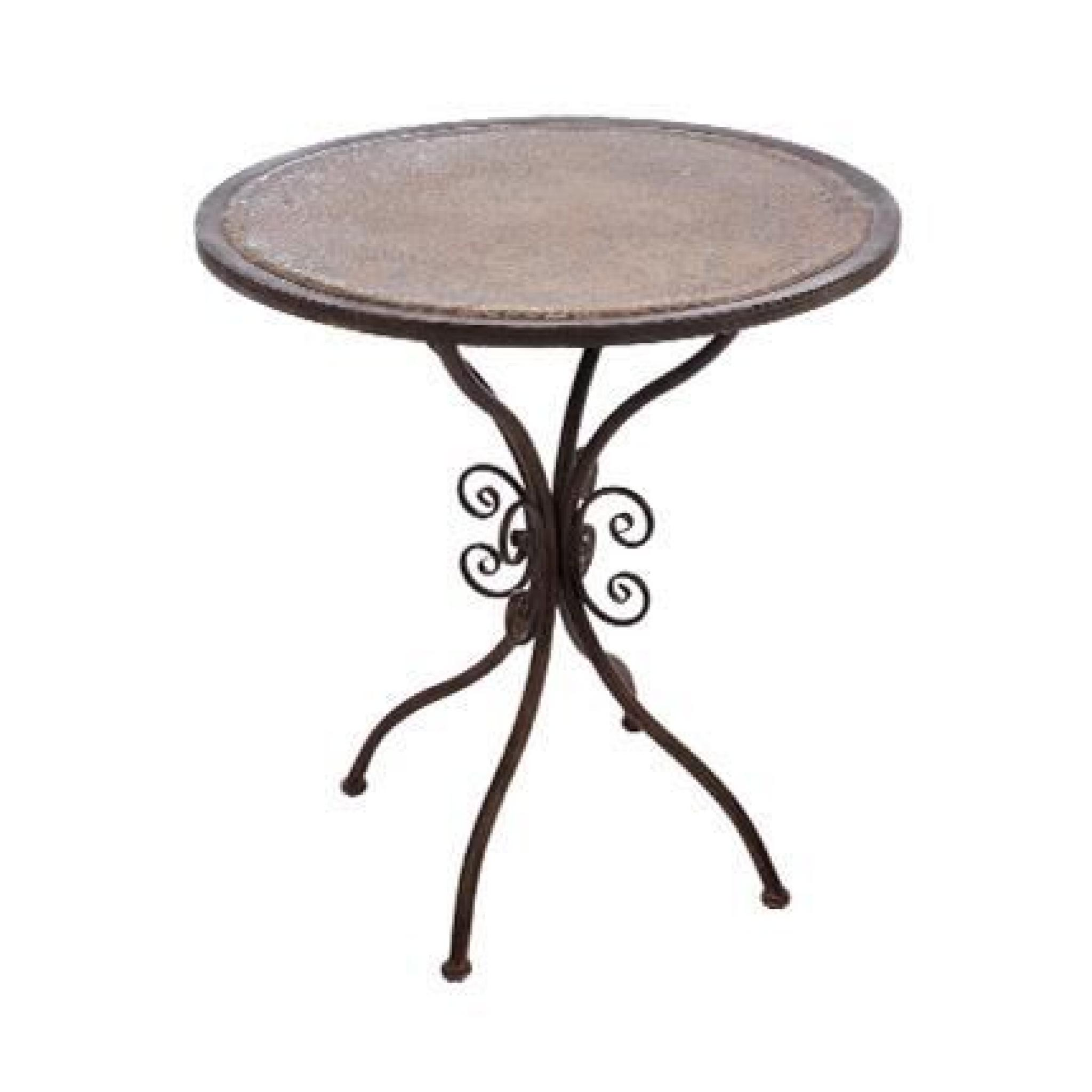 Table ronde en fer forg marron achat vente table salle for Table ronde salle a manger pas cher