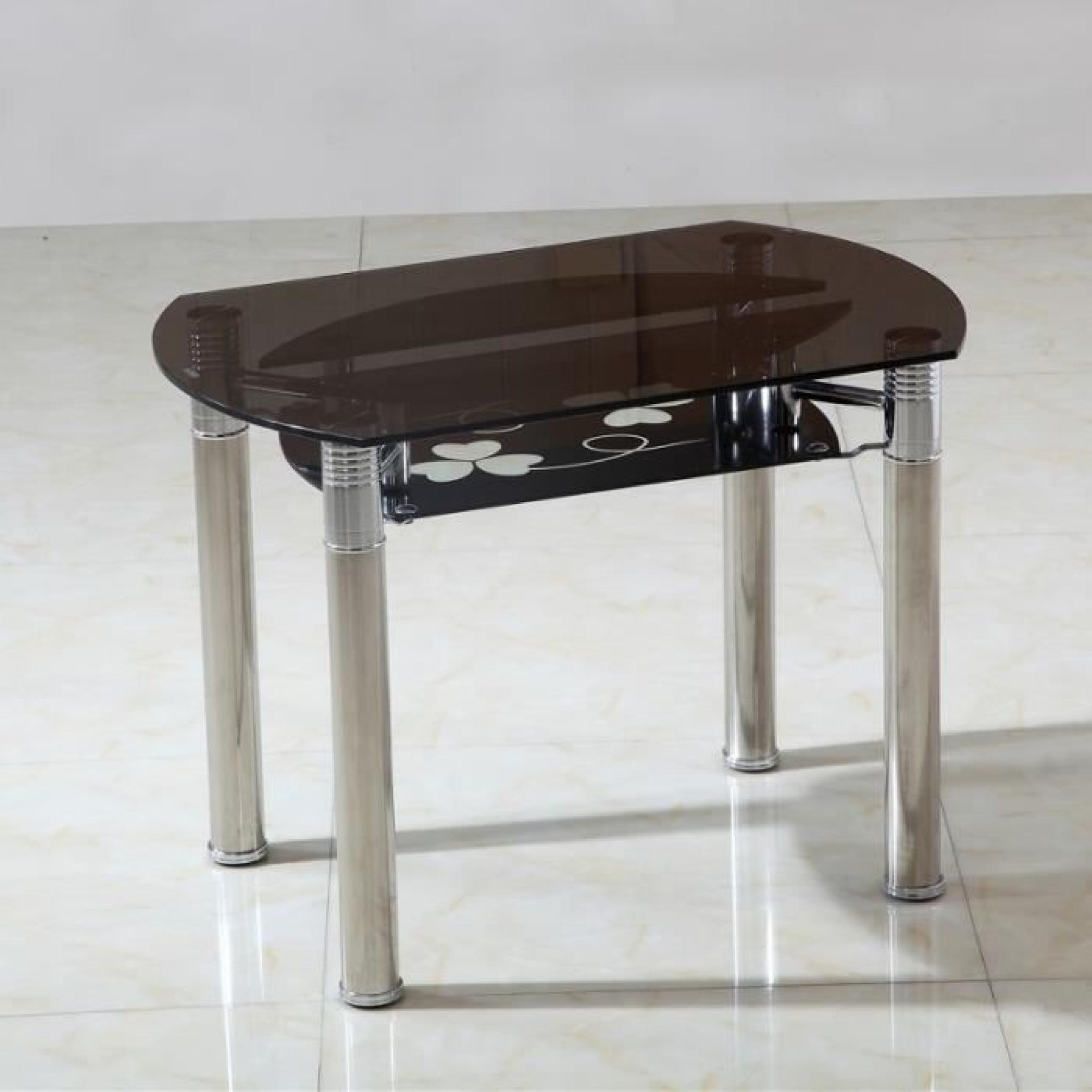 Table ronde extensible en verre fumé Tinos Ø 130 cm