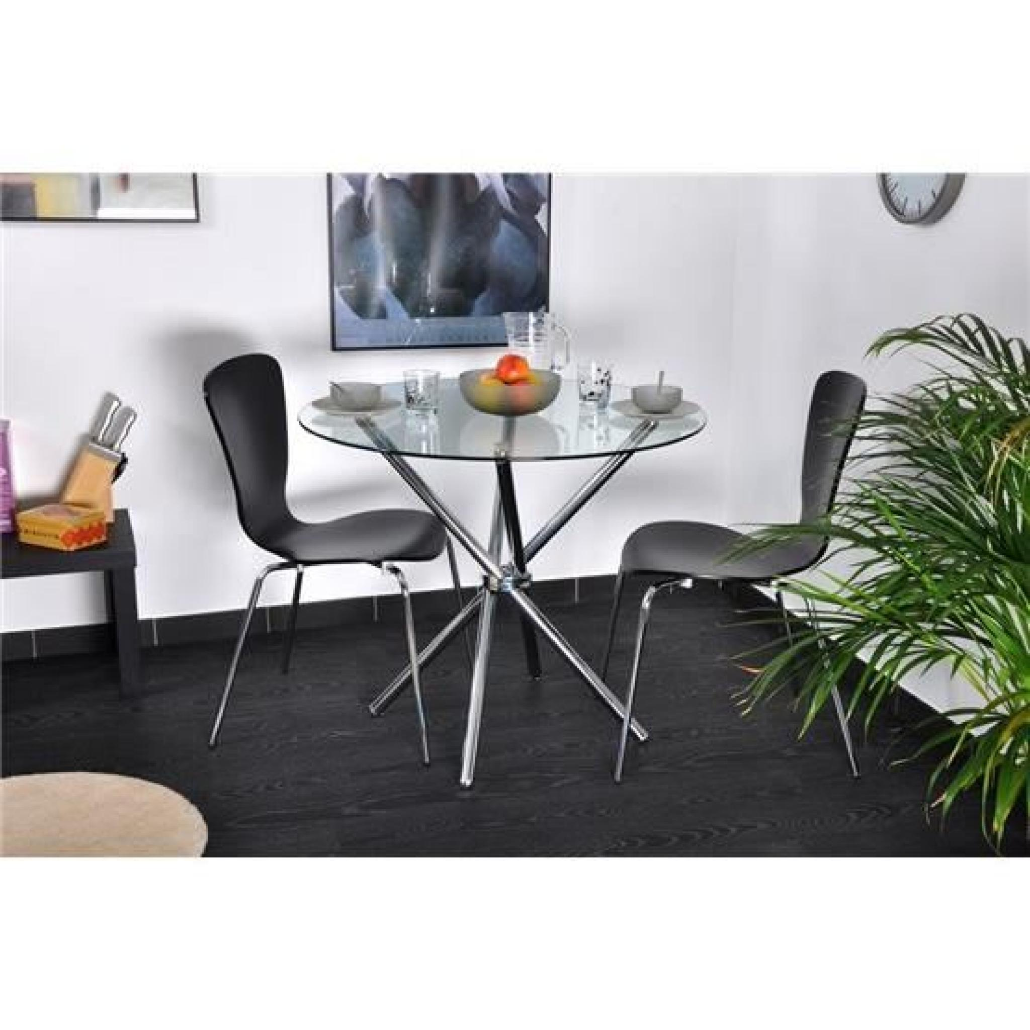 Table ronde norga chrome et transparent achat vente for Table ronde salle a manger pas cher