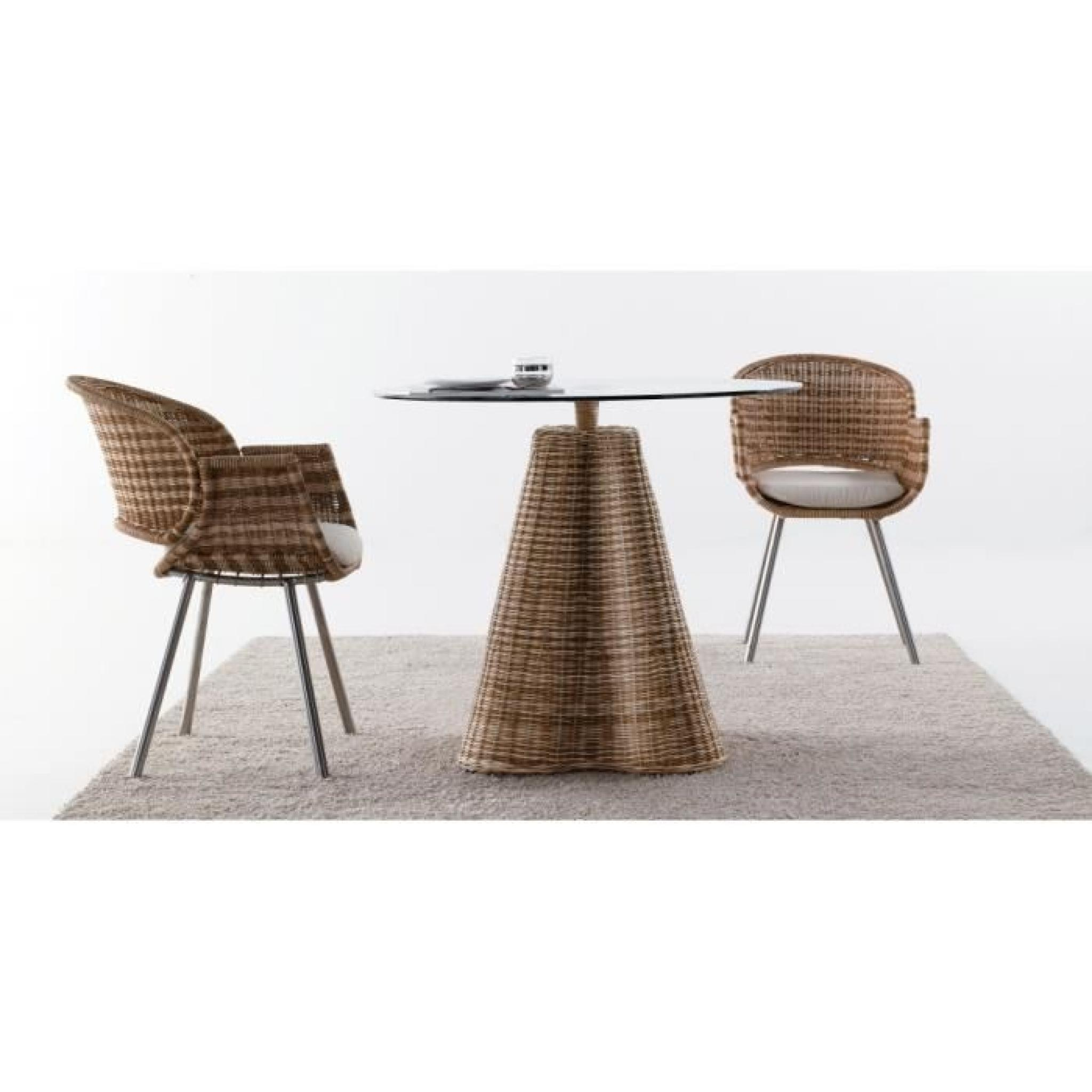 table ronde rotin naturel bicolore plateau verre achat vente table salle a manger pas cher. Black Bedroom Furniture Sets. Home Design Ideas