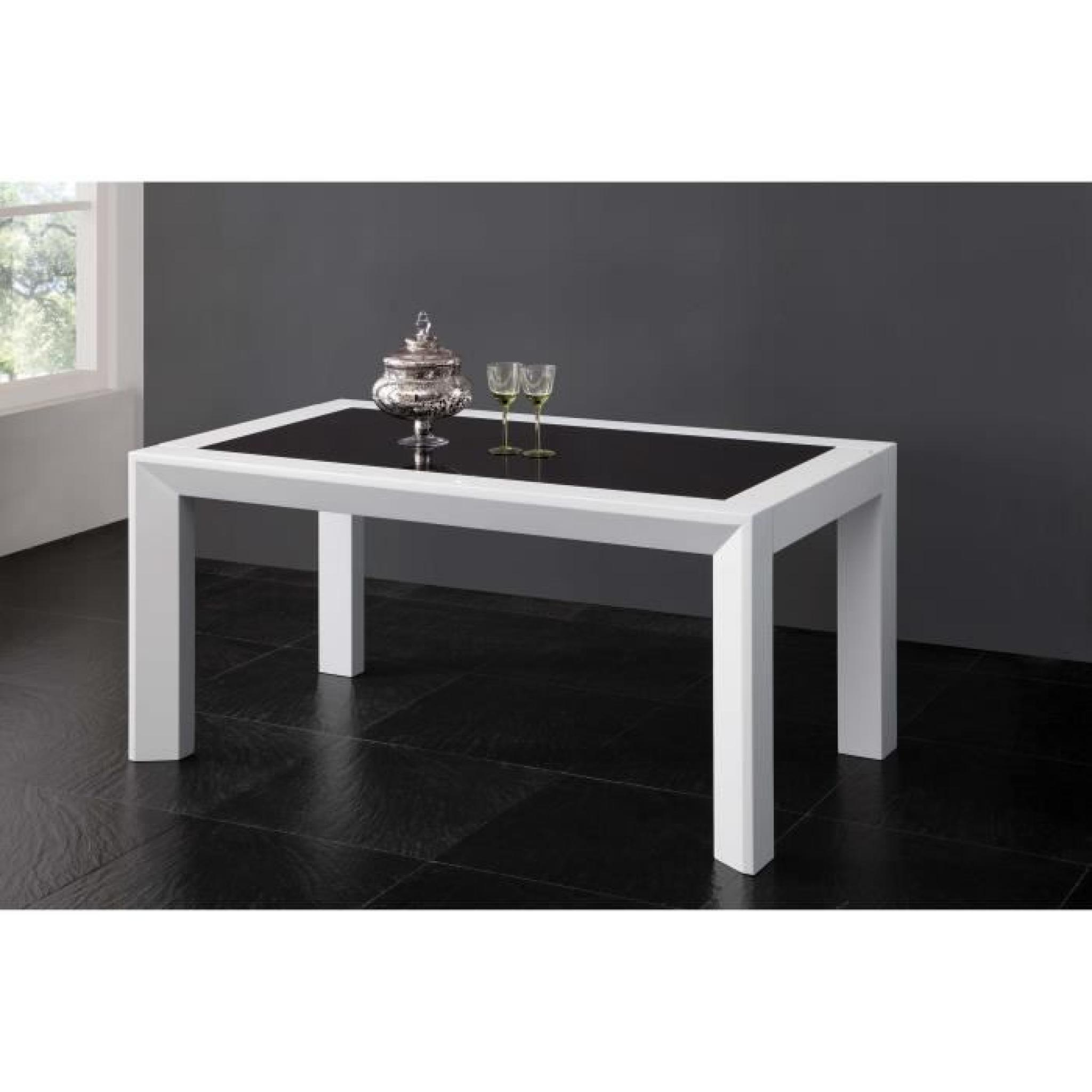 table salle manger 160cm blanc et noir achat vente table salle a manger pas cher couleur. Black Bedroom Furniture Sets. Home Design Ideas