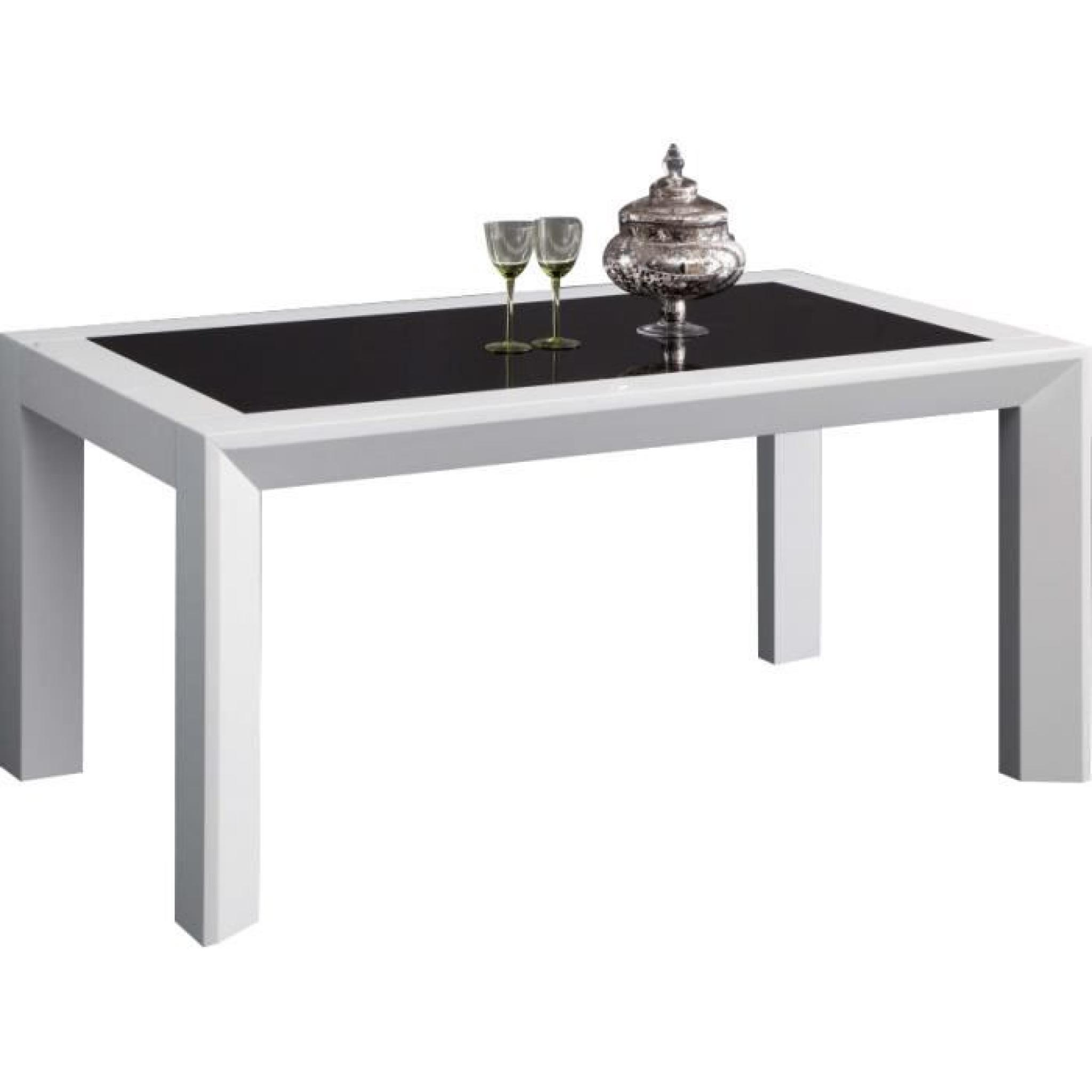 table salle manger 160cm blanc et noir achat vente. Black Bedroom Furniture Sets. Home Design Ideas
