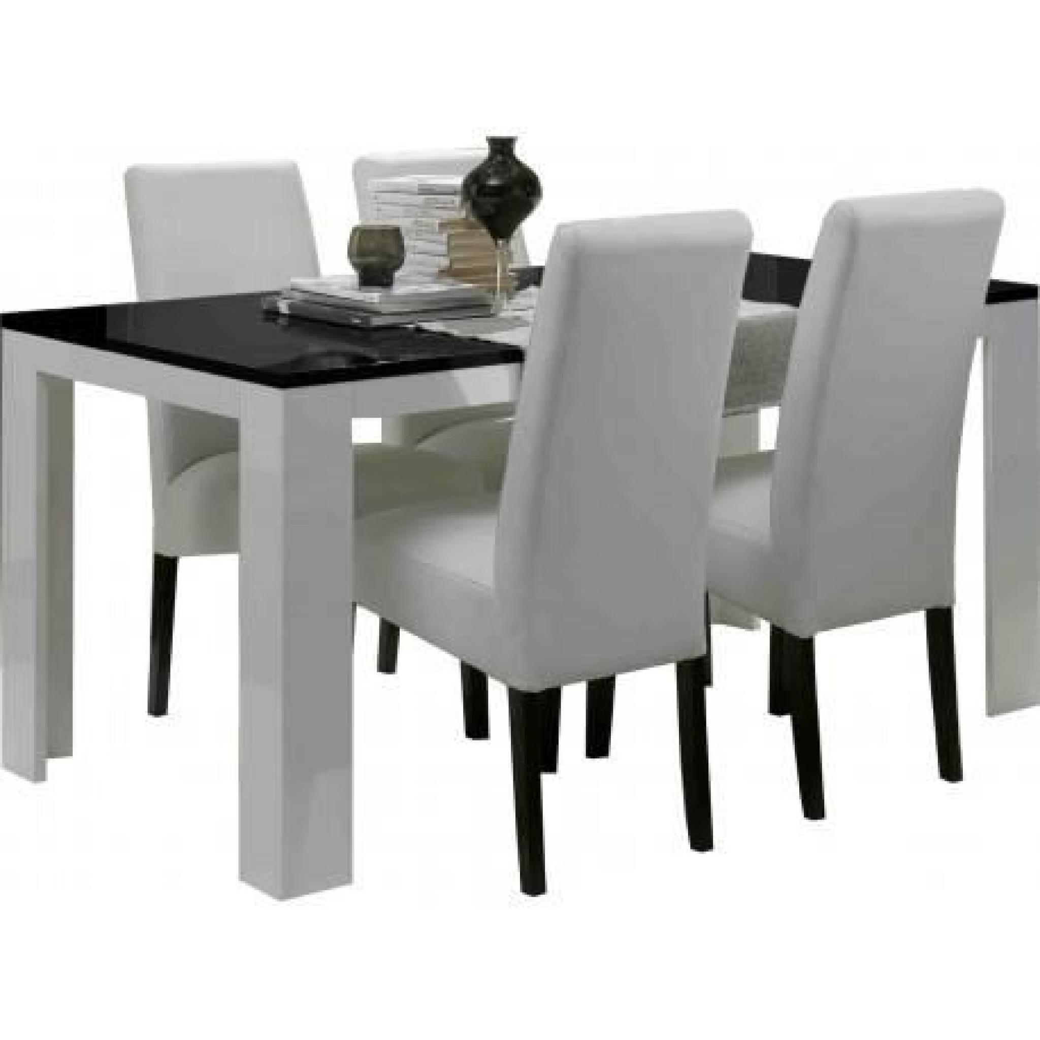Table salle à manger Model PISA Blanc-noir L190cm(sans chaises)