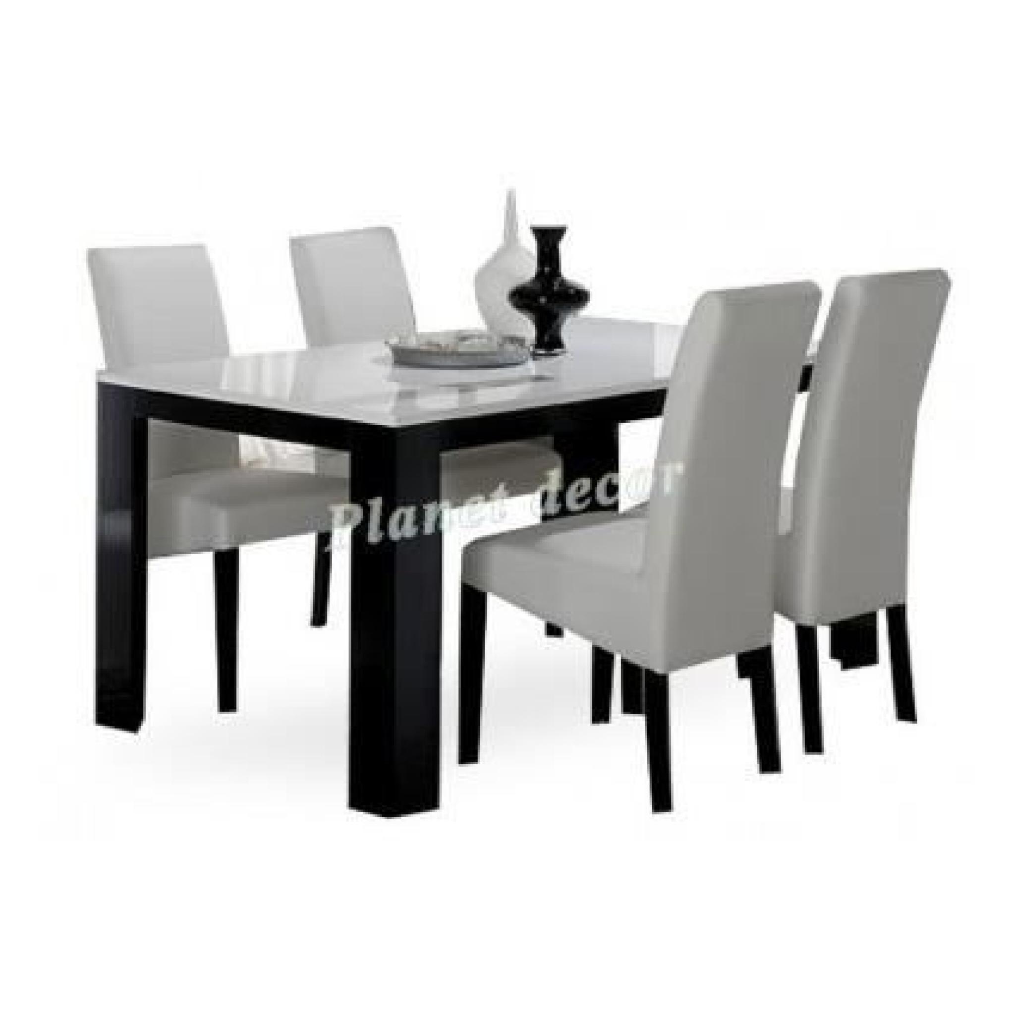 Table Salle A Manger Model Pisa Noir Blanc L190cm Sans Chaises