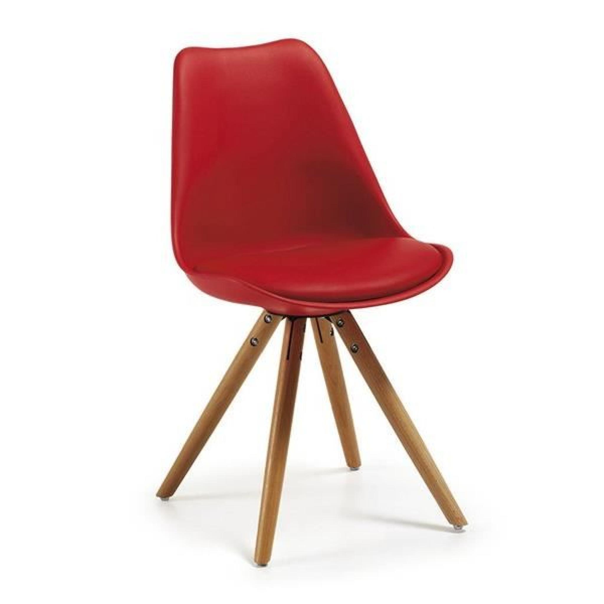 Table tulipe 120 cm et 4 chaises clubber rouges achat for Table 4 chaises pas cher