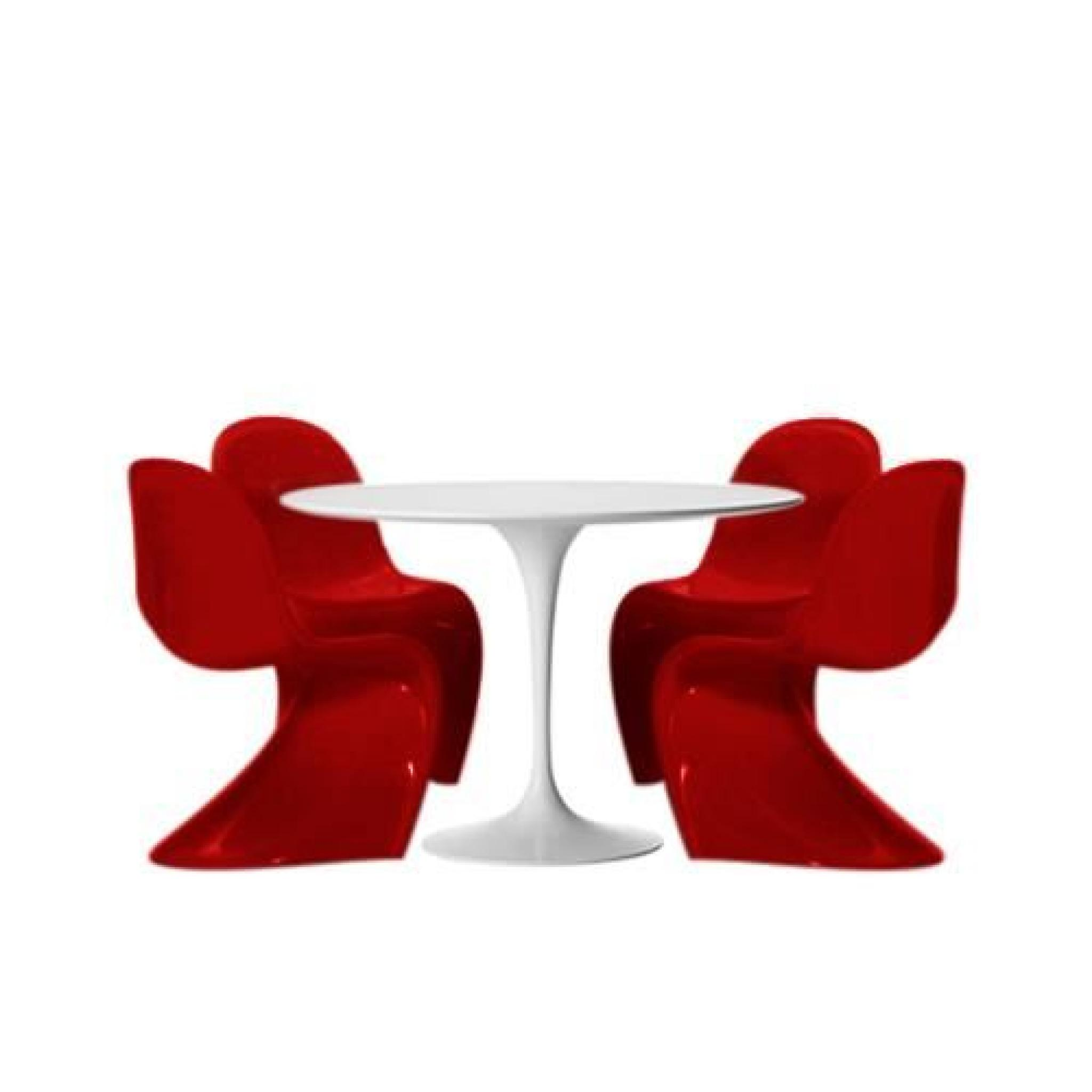 Table tulipe 120 cm et 4 chaises fantome rouges achat for Table tulipe pas cher