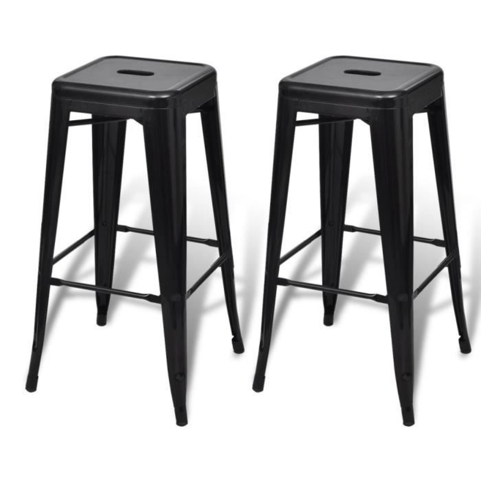 tabouret de bar 2 pcs noir achat vente tabouret de bar pas cher couleur et. Black Bedroom Furniture Sets. Home Design Ideas