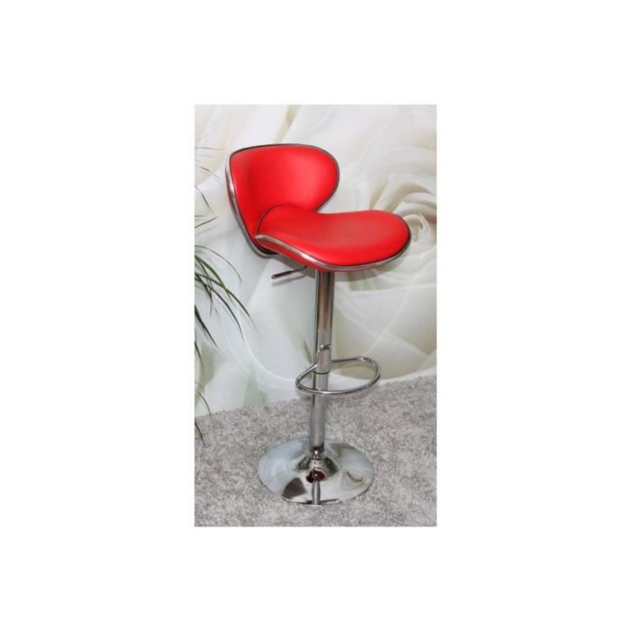 Tabouret De Bar Chrome Simili Cuir Rouge