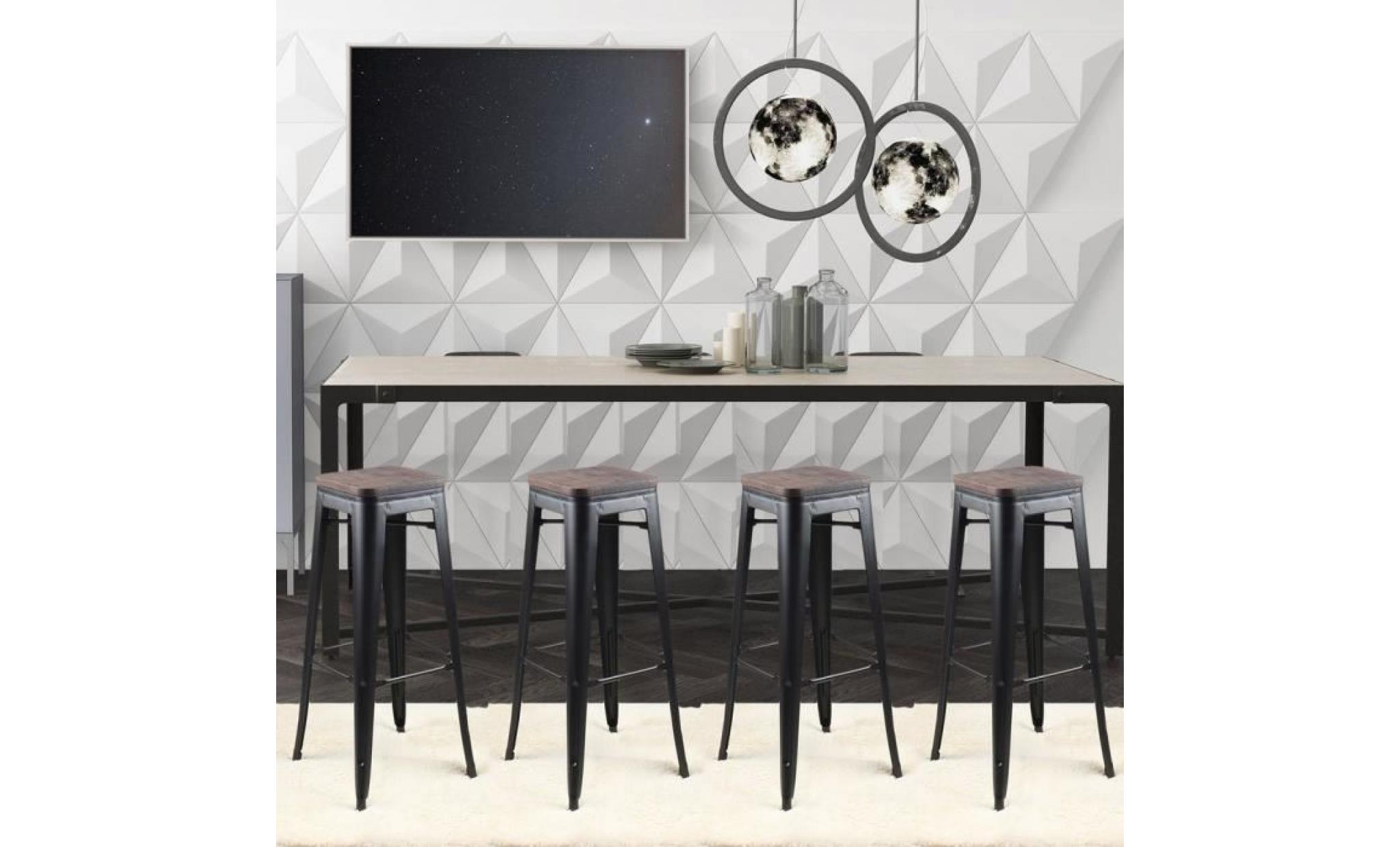 meilleures baskets cd97c 419ce tabouret de bar design industriel harlem (lot de 4) noir