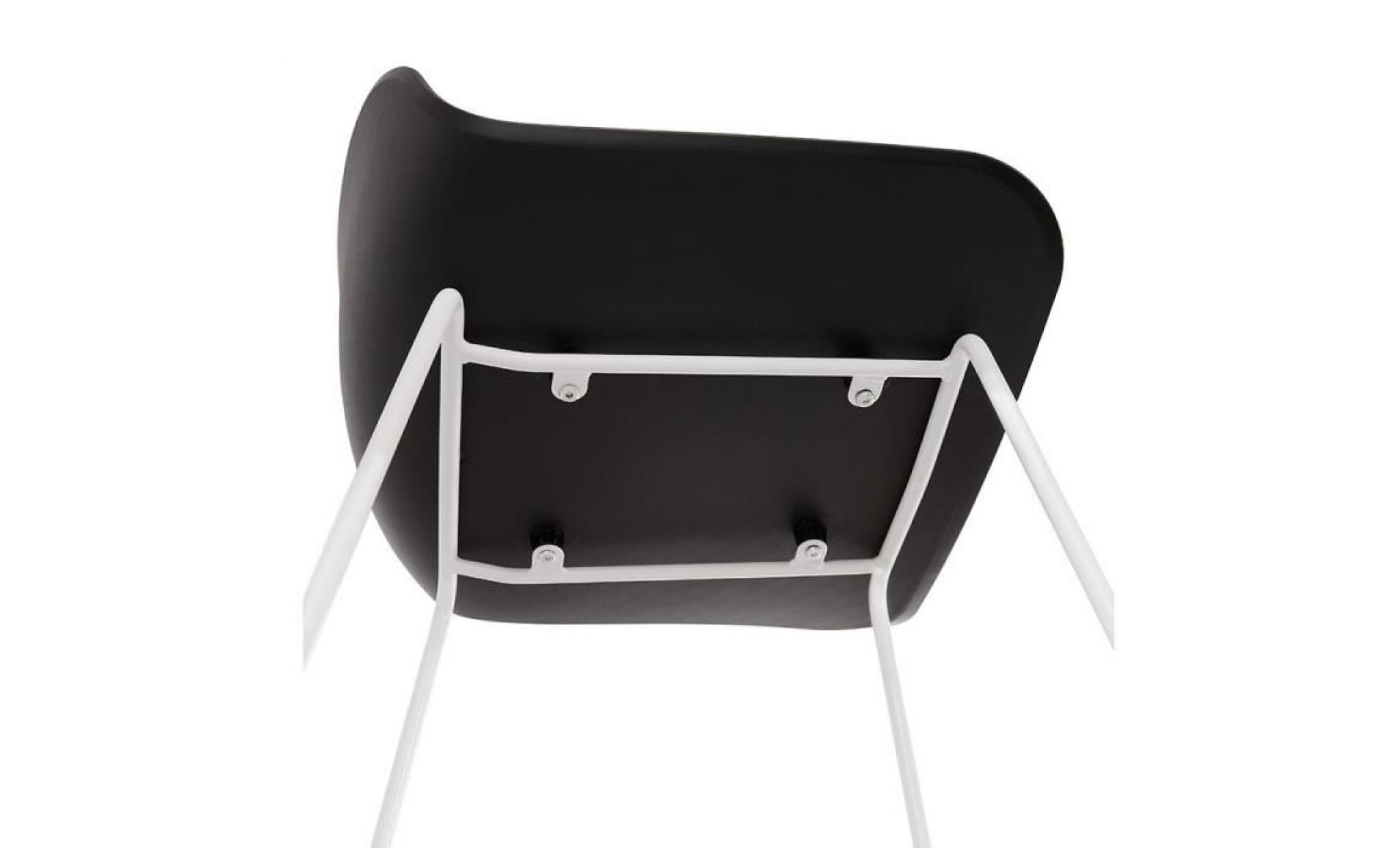 tabouret de bar design 'slade' noir avec pieds en mÉtal blanc dimensions 3d : 50,5x53x95 cm. tabouret de bar design avec assise