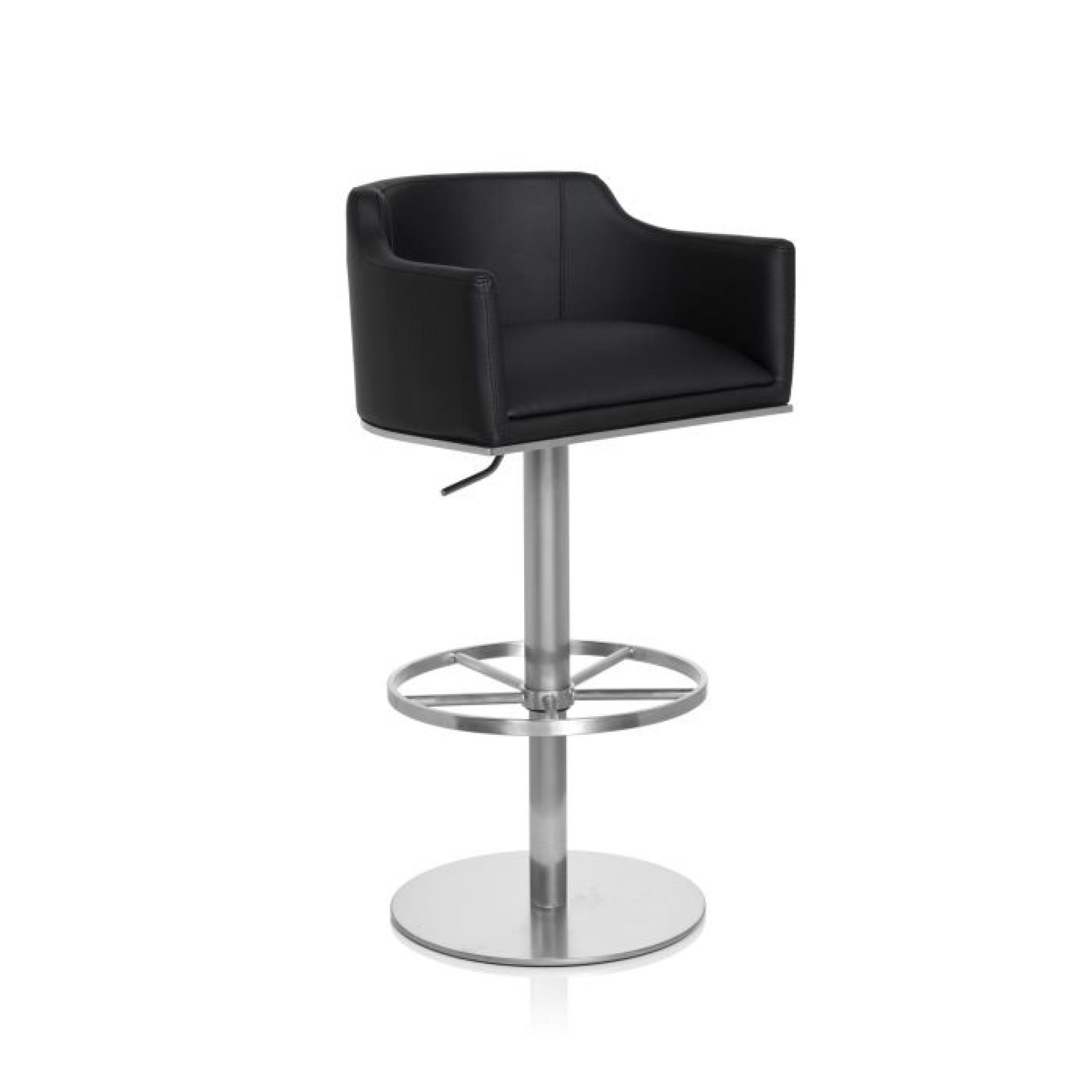 tabouret de bar feli en acier inox bross noir achat. Black Bedroom Furniture Sets. Home Design Ideas