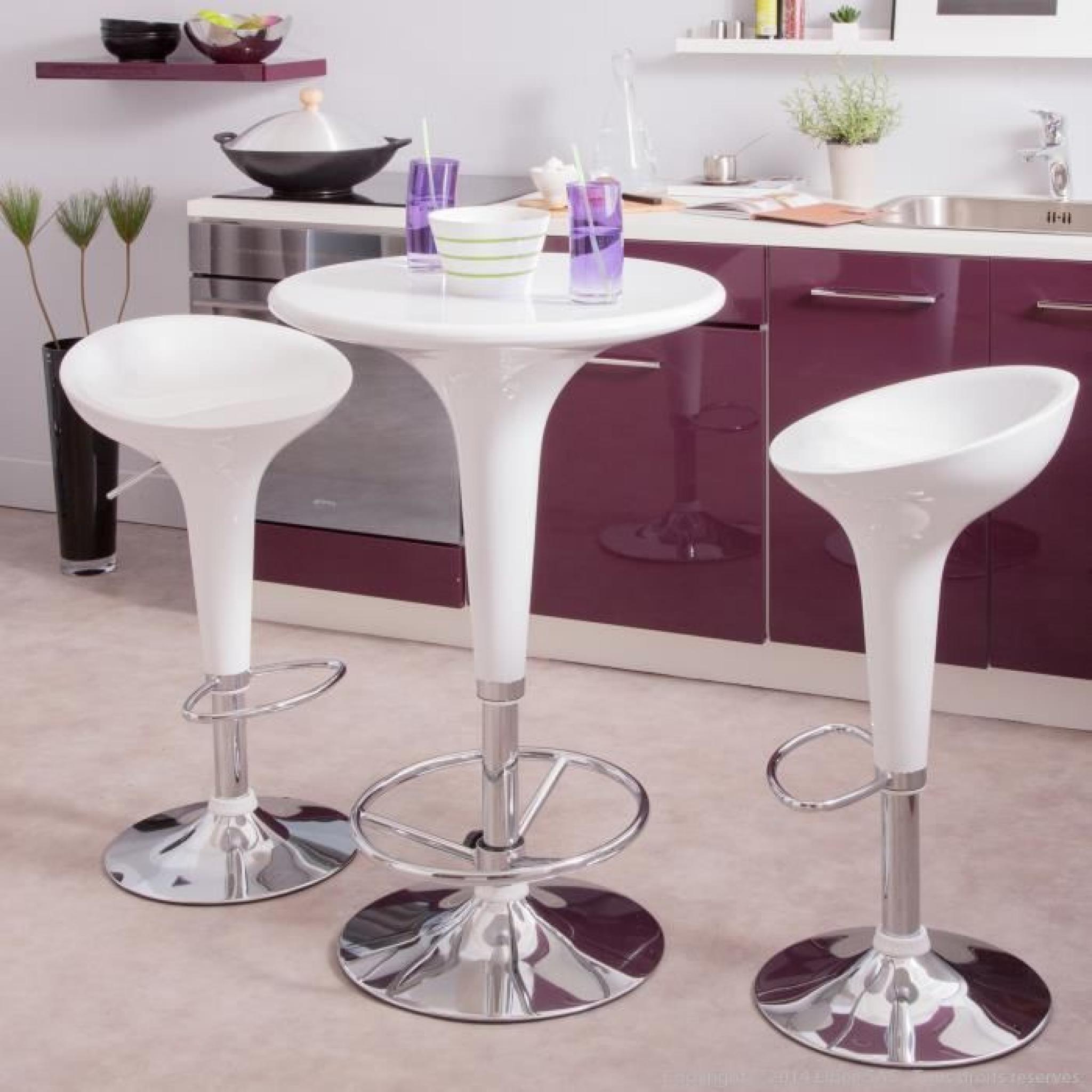 tabouret de bar hauteur r glable coque abs base chrom e lot de 2 lollipop achat vente tabouret. Black Bedroom Furniture Sets. Home Design Ideas