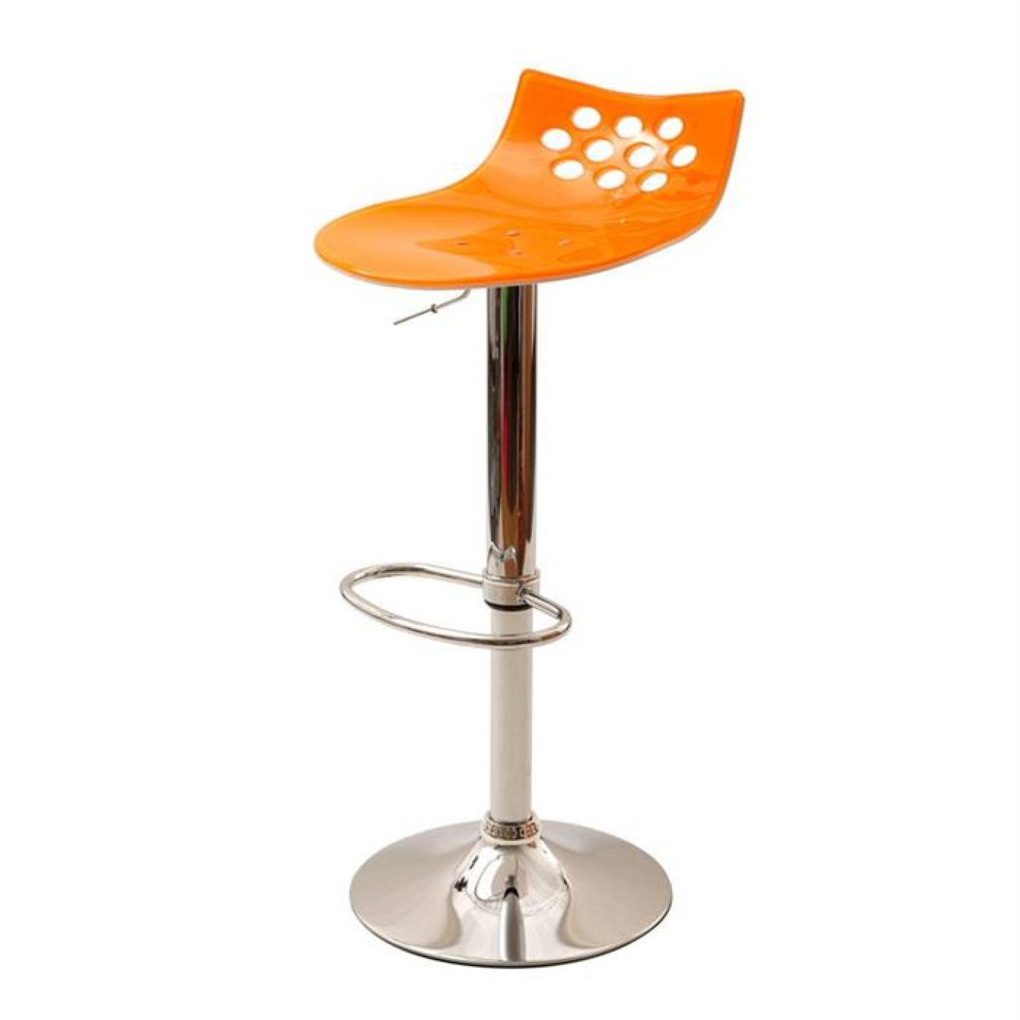 Tabouret de bar design orange et blanc MAGELLAN