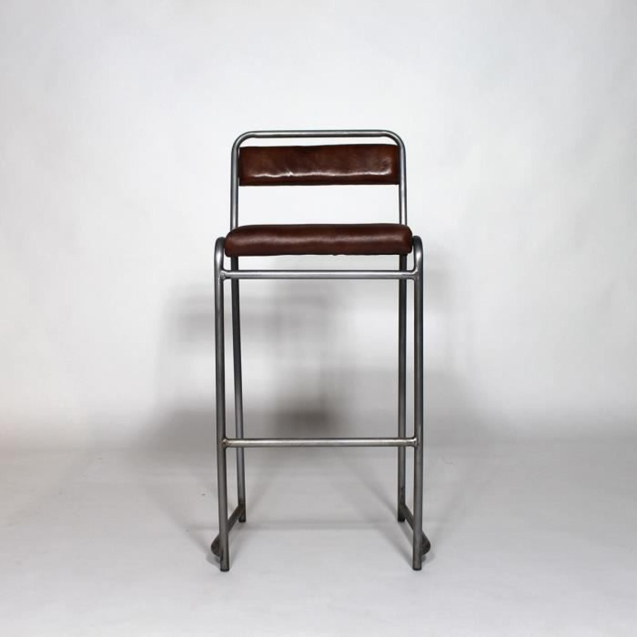 tabouret de bar m tal gris et cuir s50 achat vente. Black Bedroom Furniture Sets. Home Design Ideas