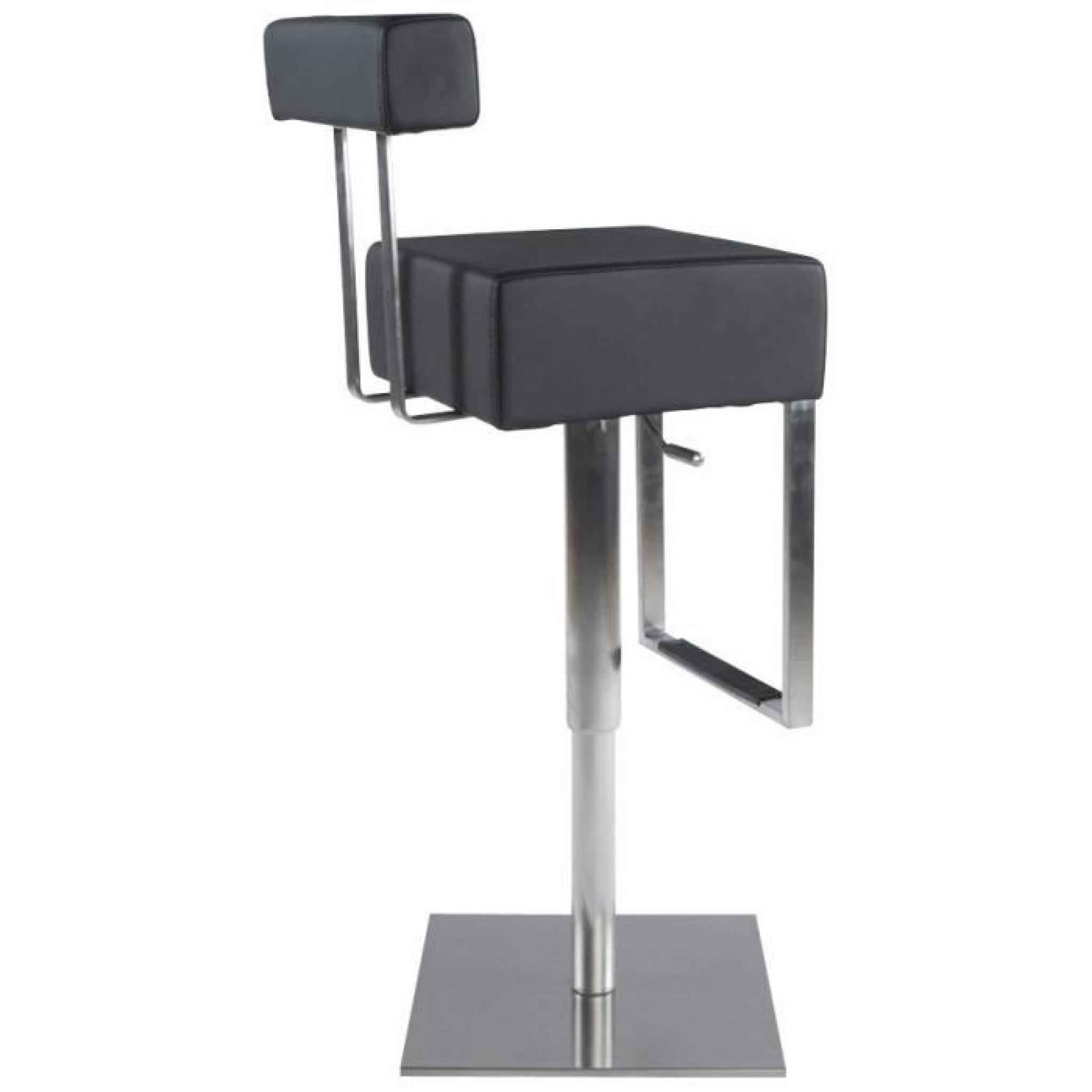 tabouret de bar 39 spoon 39 avec haut dossier en similicuir noir achat vente tabouret de bar pas. Black Bedroom Furniture Sets. Home Design Ideas