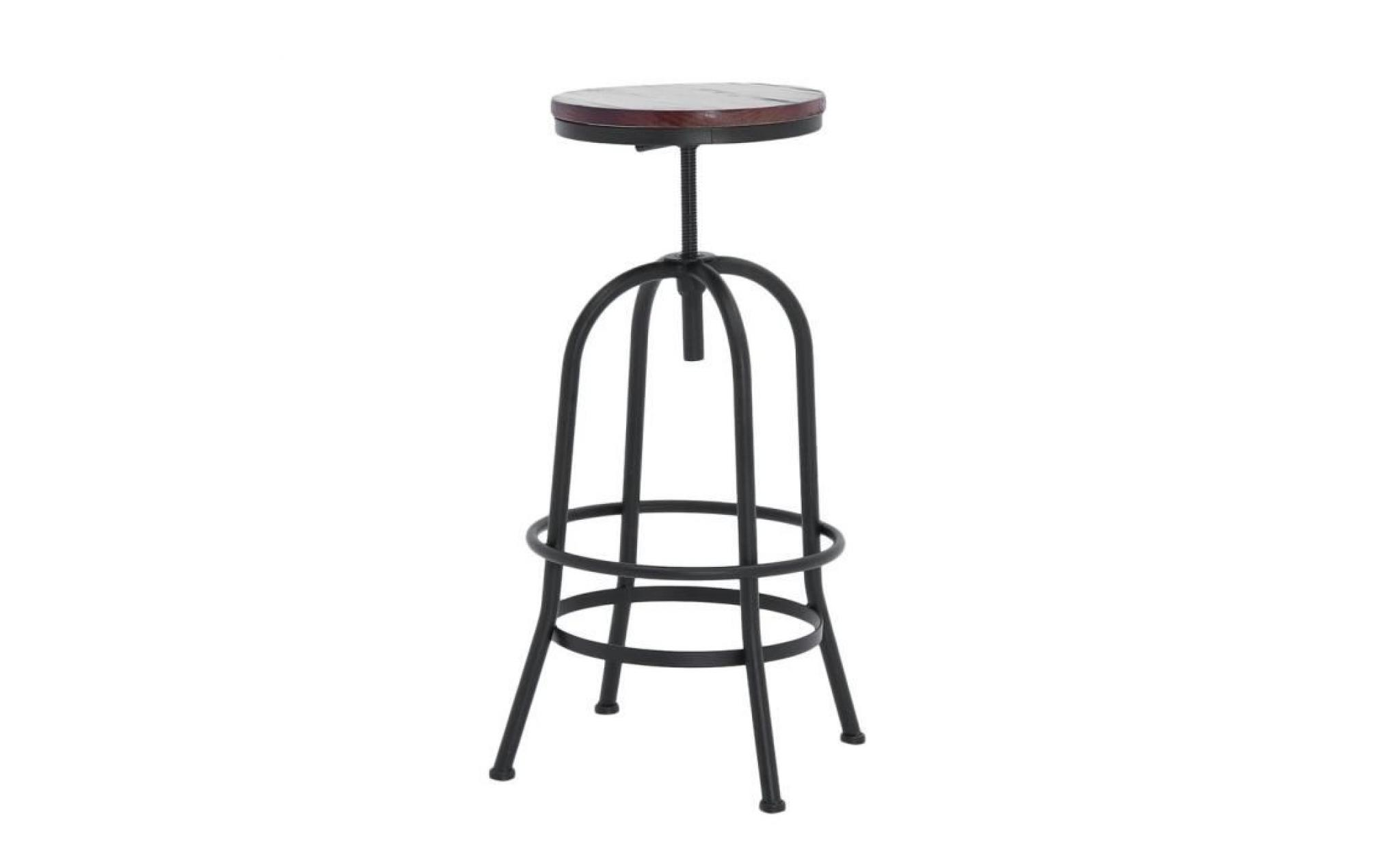 Tabouret De Bar Style Industriel En Bois Et Metal Super Confortable
