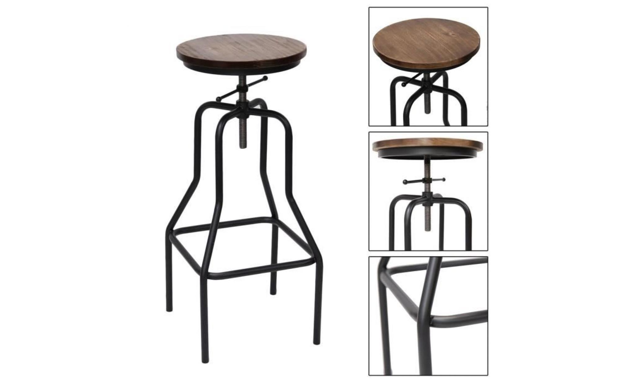 tabouret réglable de bar design vintage 33.5*33.5*(69 89)cm
