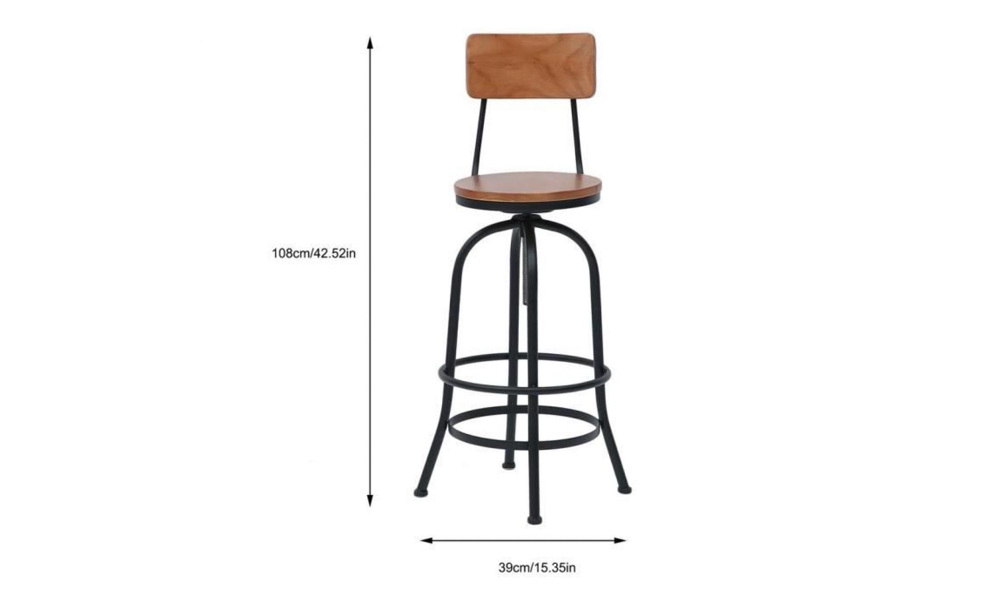 de haut industriel dossier bar design pub chaise chaise tabourets rustique 38x38x113cm à vintage OXZiTukwP