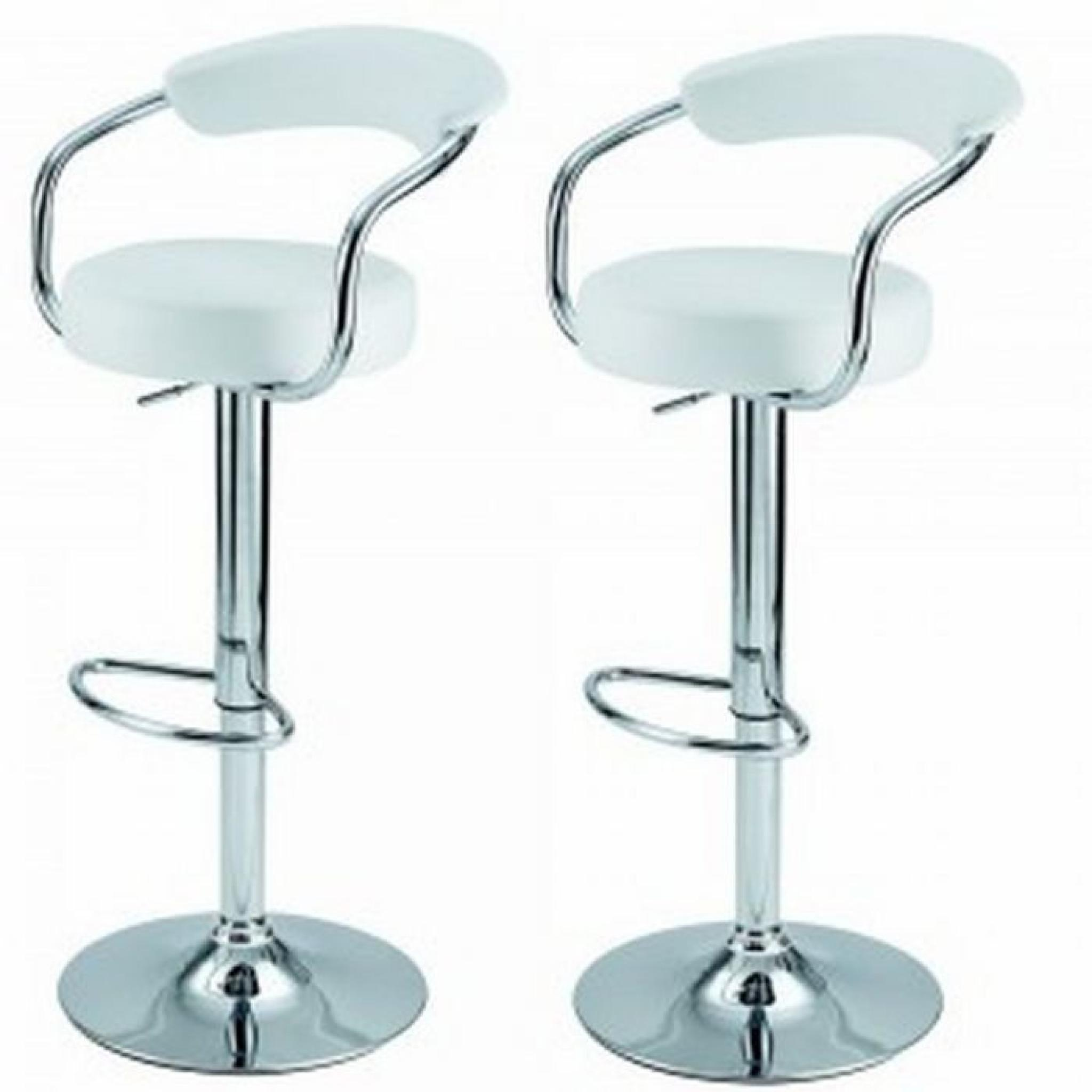 lot de 2 tabourets de bar jazz blanc achat vente. Black Bedroom Furniture Sets. Home Design Ideas