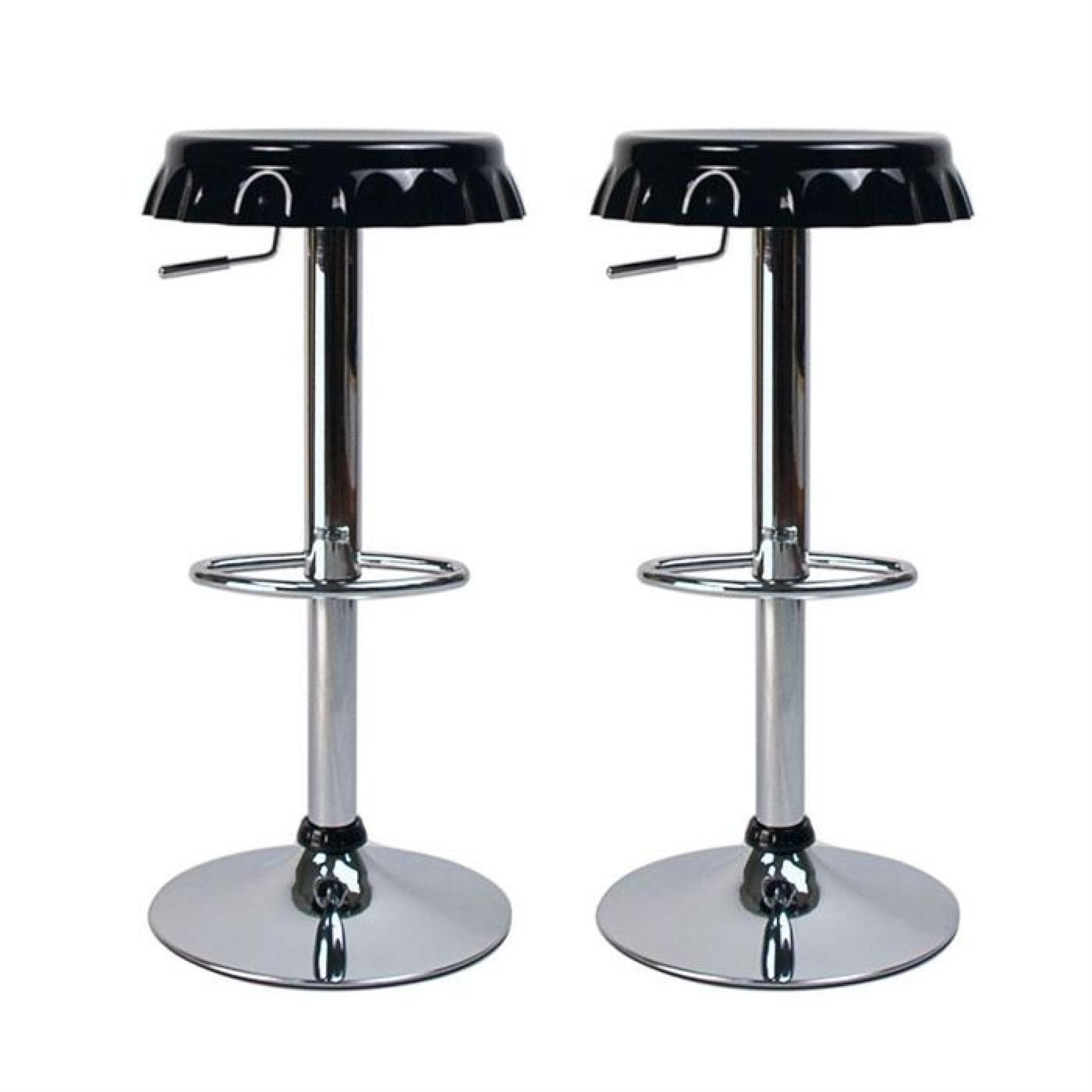 tabourets de bar cuisine noir capsule lot de 2 achat vente tabouret de bar pas cher. Black Bedroom Furniture Sets. Home Design Ideas