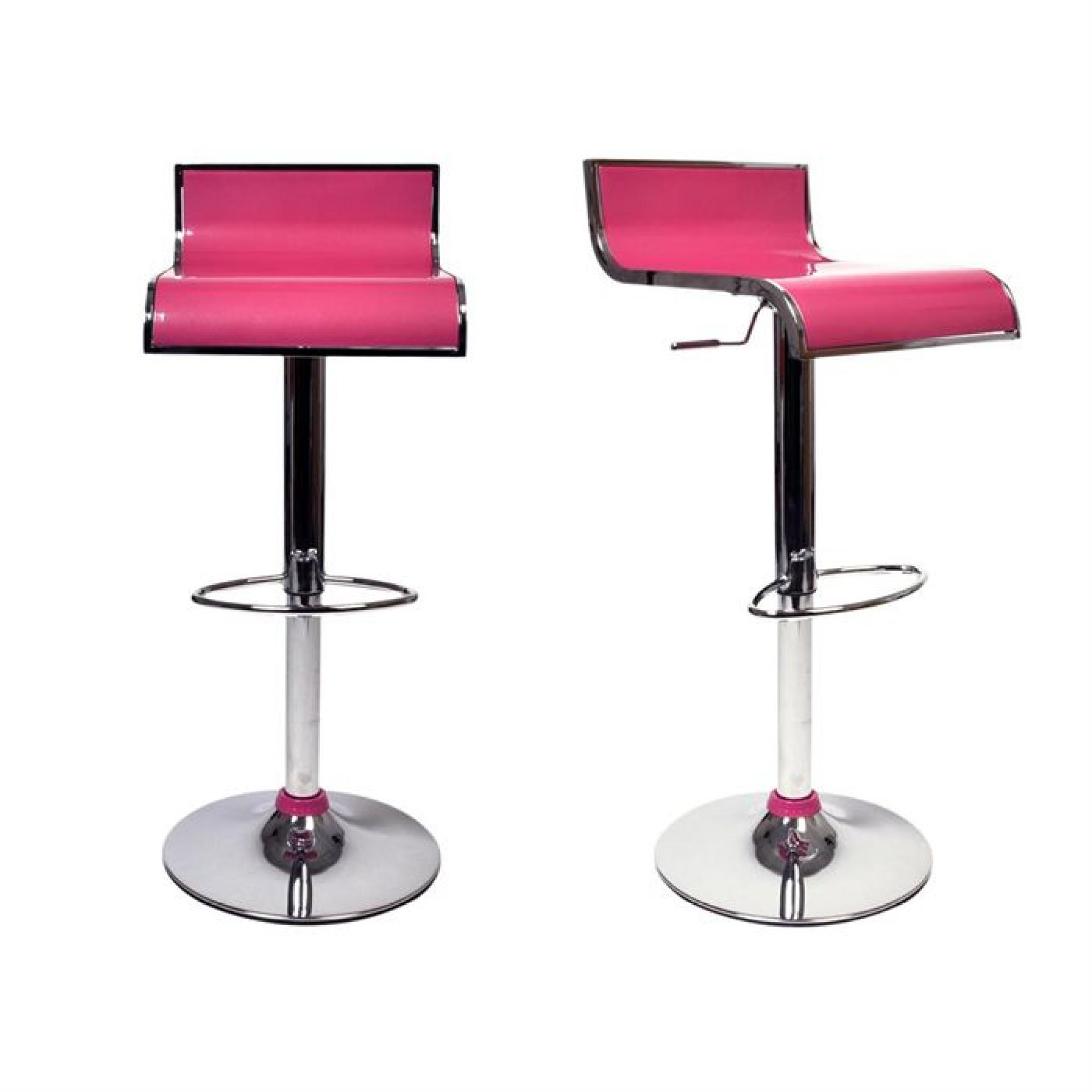 Tabourets de bar rose design waves lot de 2 achat vente tabouret de bar pas cher couleur for Tabouret bar couleur