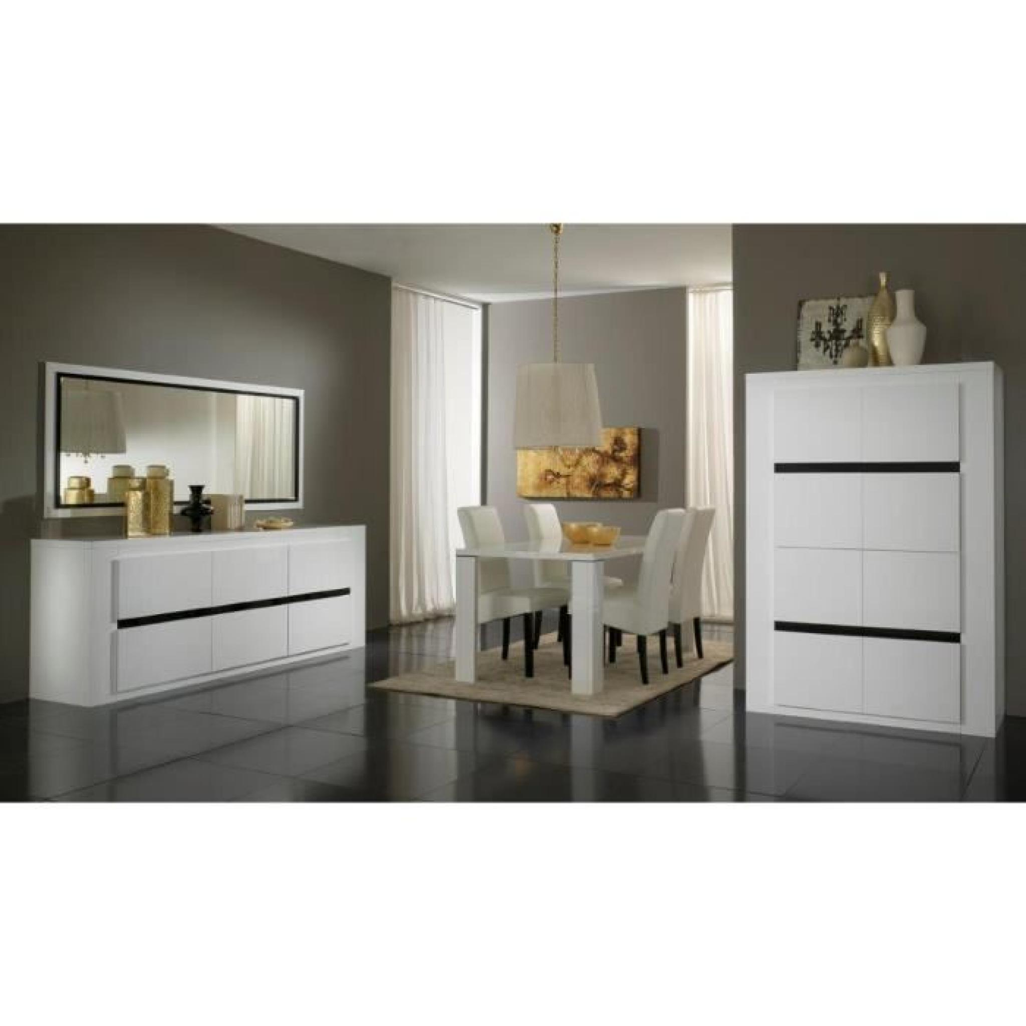 tania metal laque noire blanche ensemble complet salle a manger vitrines 2 portes bahut. Black Bedroom Furniture Sets. Home Design Ideas