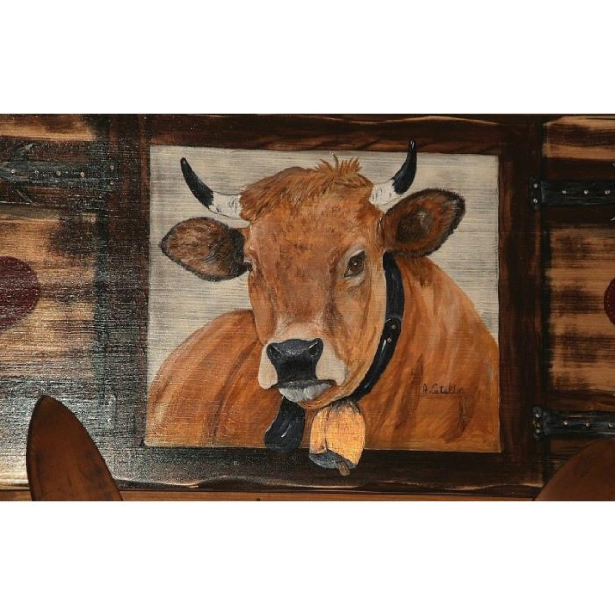 Tete De Lit Bois Peinture Vache Deco Scandinave Achat Vente Tete