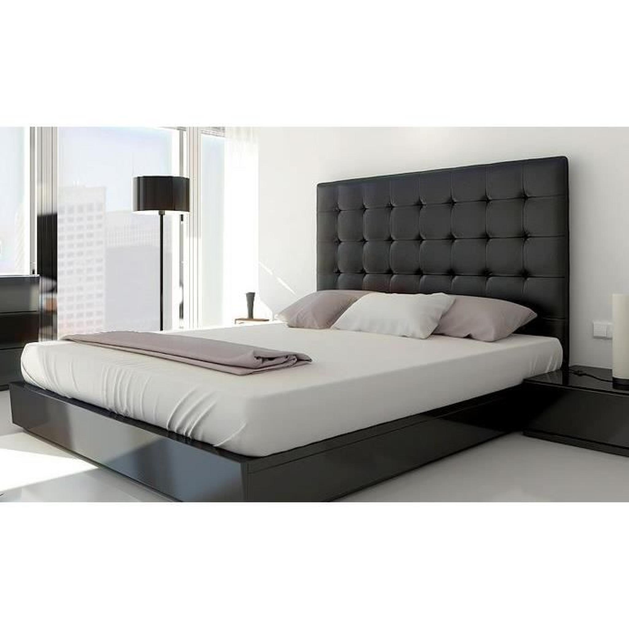 t te de lit capitonn e 160 noir achat vente tete de lit pas cher couleur et. Black Bedroom Furniture Sets. Home Design Ideas