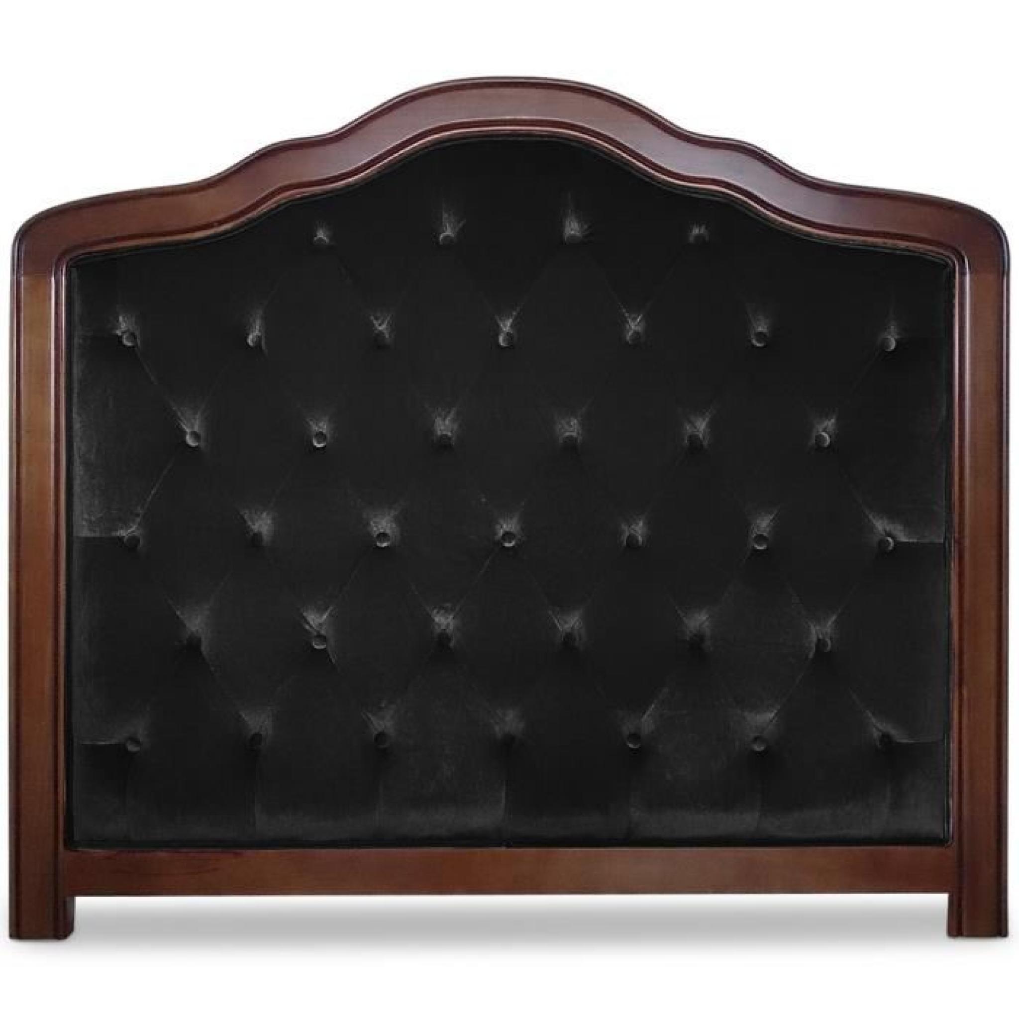 T te de lit capitonn e maggie 140cm velours noir achat vente tete de lit pas cher couleur et - Porte capitonnee prix ...