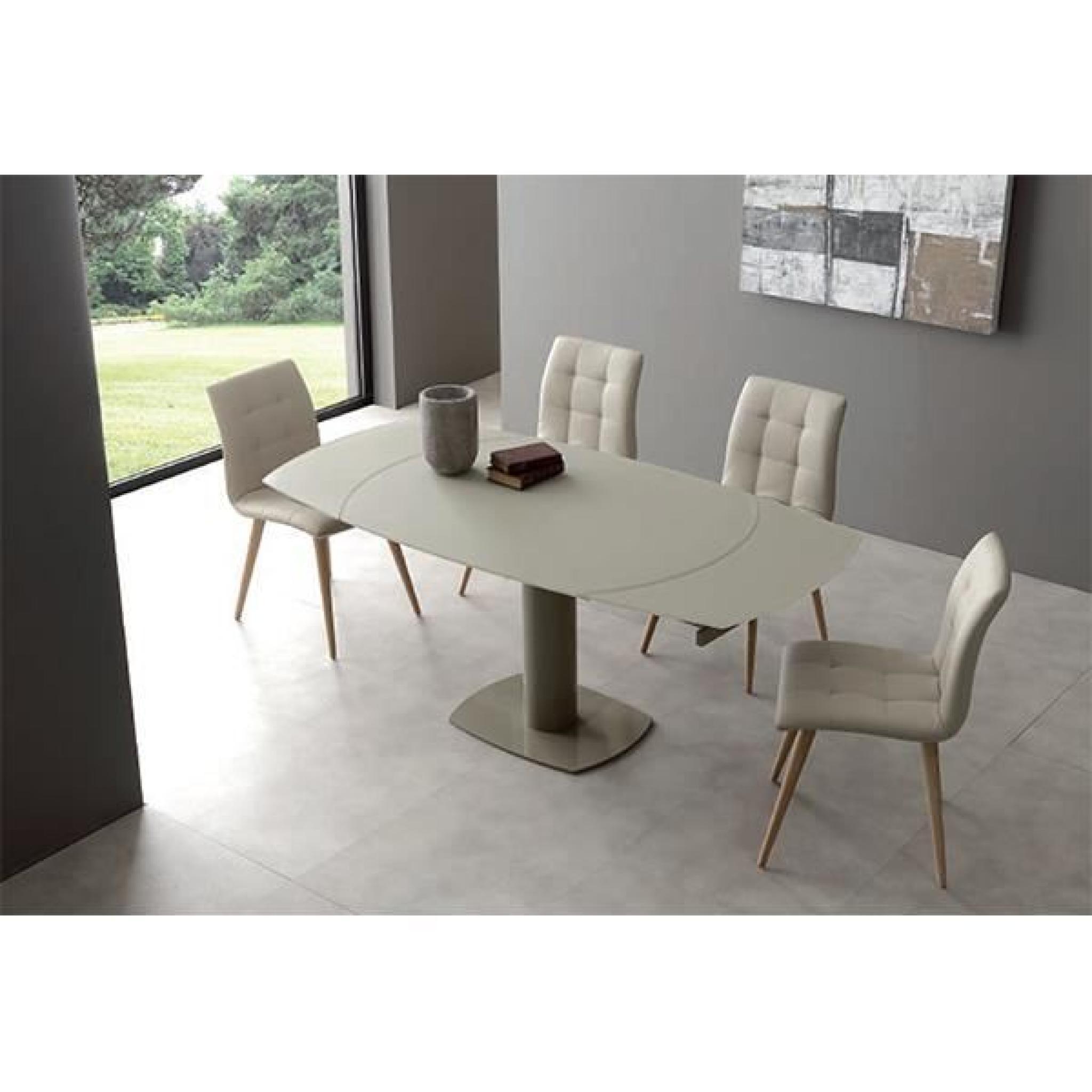 Titan table de repas extension automatique taupe velvet for Cuisine complete taupe