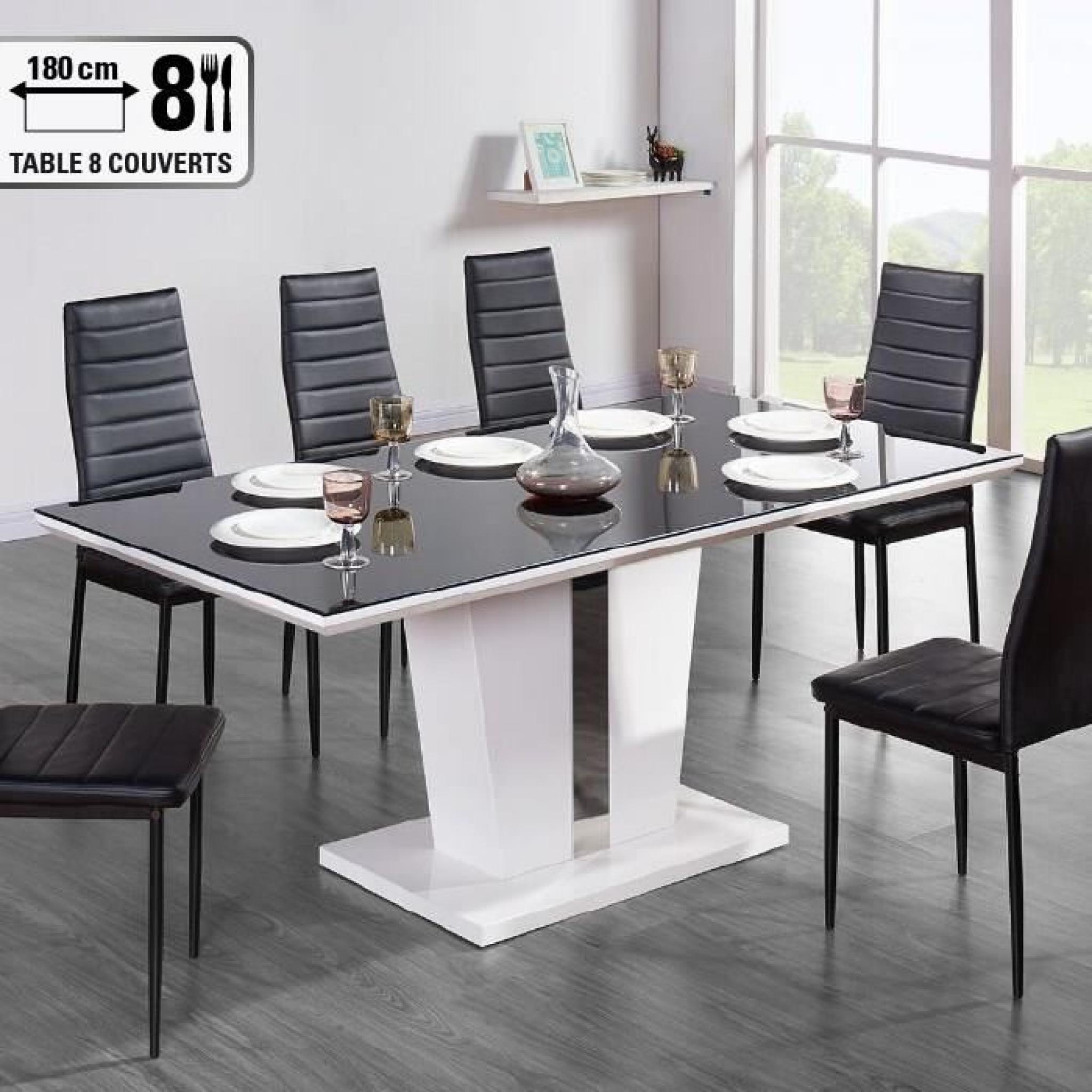 trevise table manger 180x90cm noir et laqu blanc. Black Bedroom Furniture Sets. Home Design Ideas