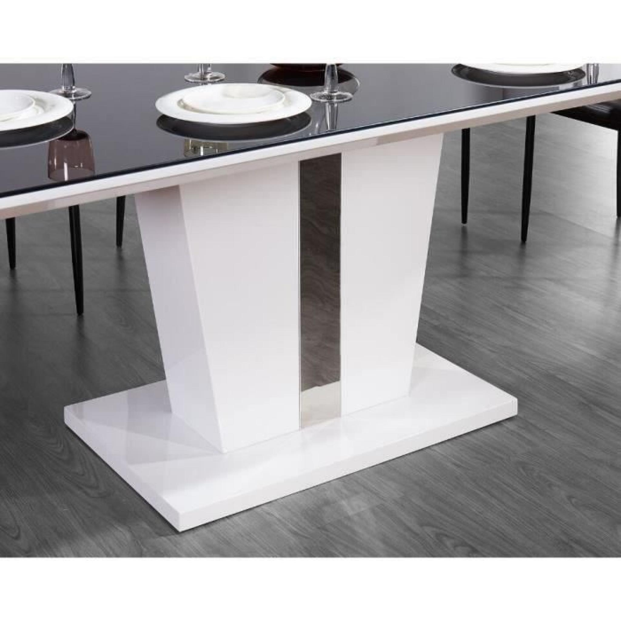 Trevise table manger 180x90cm noir et laqu blanc for Table a manger laque blanc pas cher