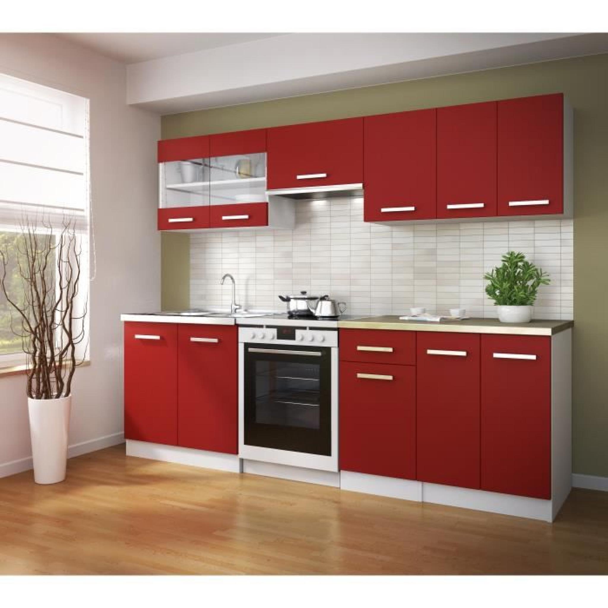 ultra cuisine compl te 2m40 rouge mat achat vente cuisine complete pas cher couleur et. Black Bedroom Furniture Sets. Home Design Ideas