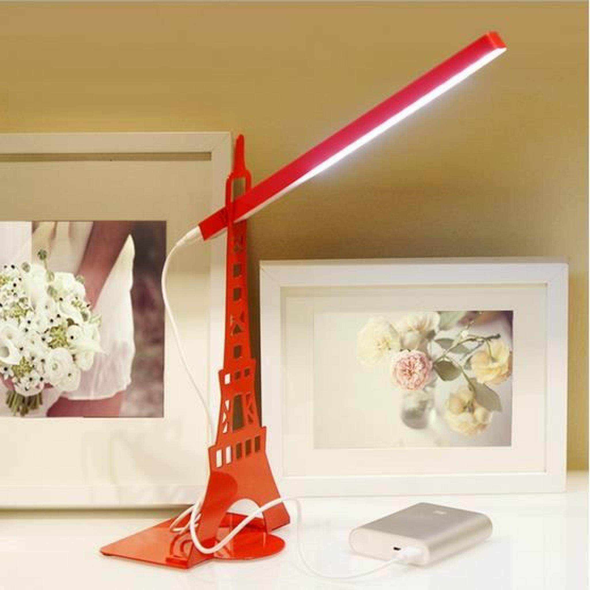 Créatif En De Eiffel Table Métal Lumière La lampe Nuit Usb lampe blanc Tour Nwmny80OPv