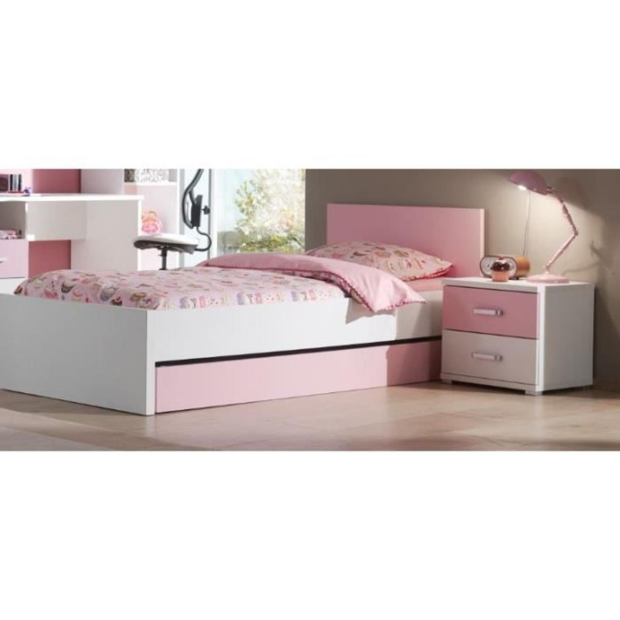 valentine lit enfant lit gigogne chevet blanc rose achat vente chambre complete pas cher. Black Bedroom Furniture Sets. Home Design Ideas