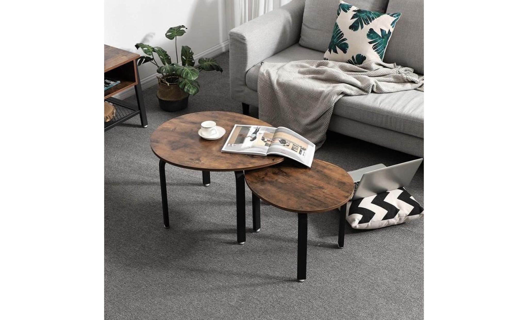 Vasagle Lot De 2 Tables Gigognes Table Basse Table D Appoint Style Industriel Pieds En Fer Aspect Bois Vieilli Lnt12x
