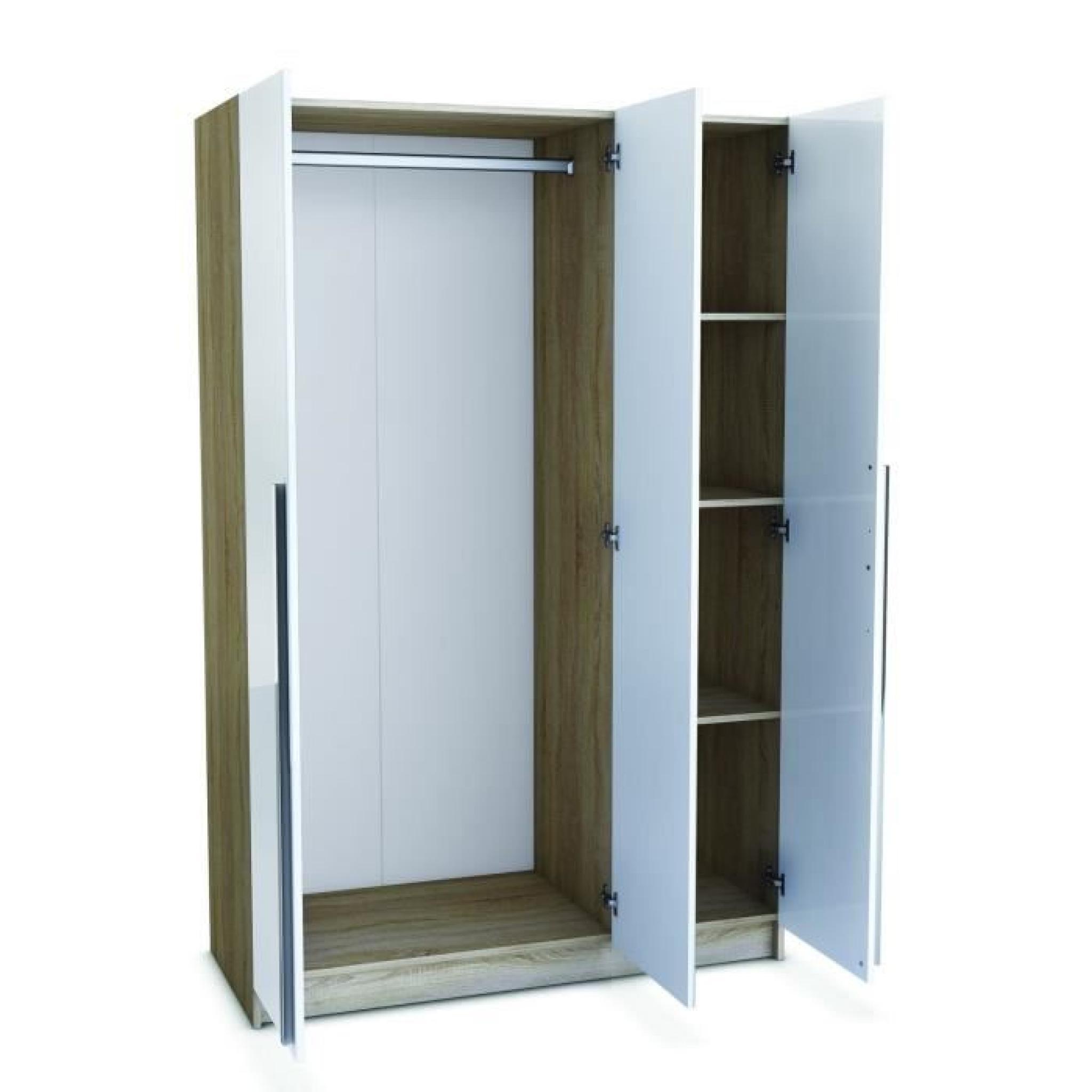 VEGAS Armoire 3 portes 1 miroir 120cm chêne/blanc - Achat ...