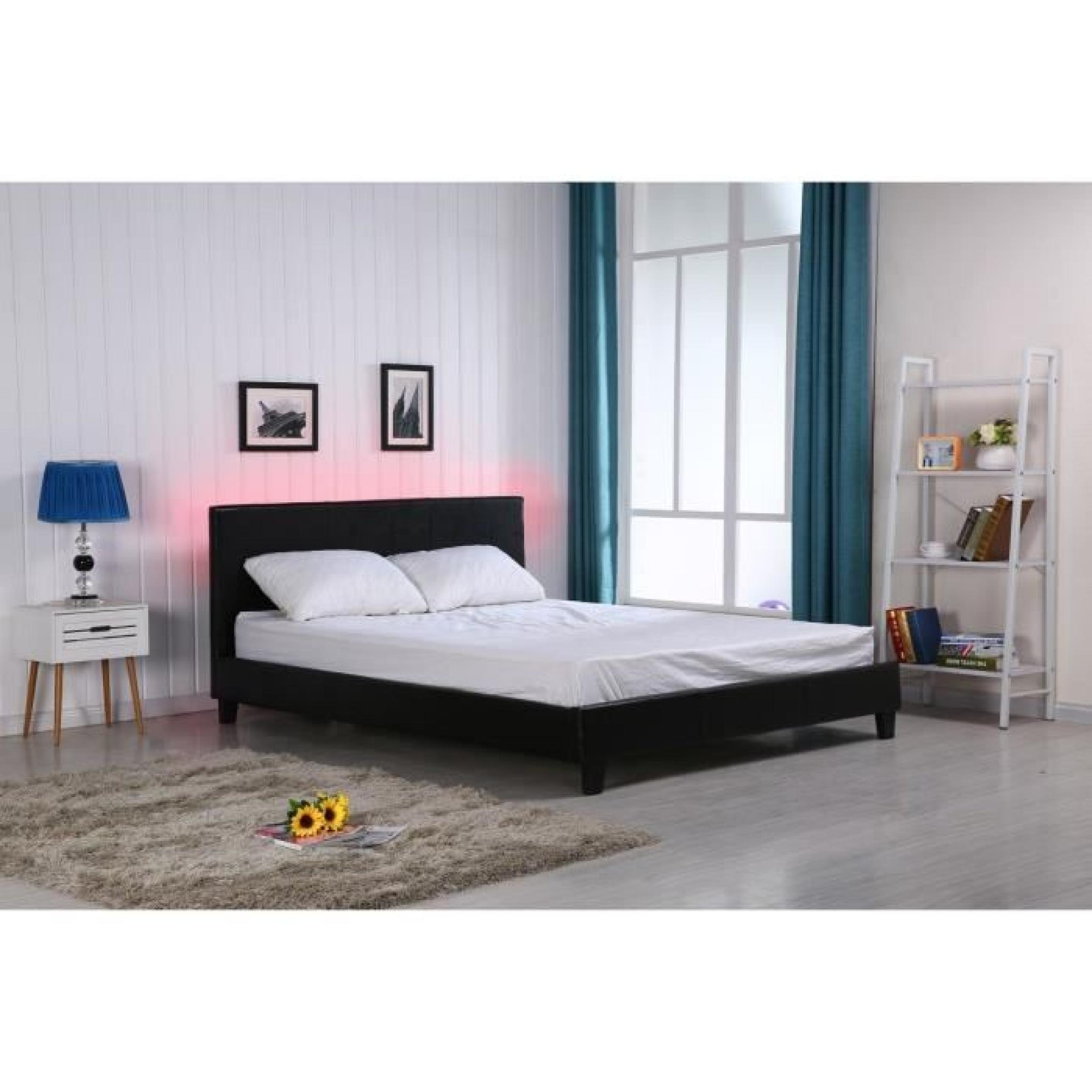 Vegas lit led adulte noir 160x200cm sommier t te de for Lit adulte avec commode
