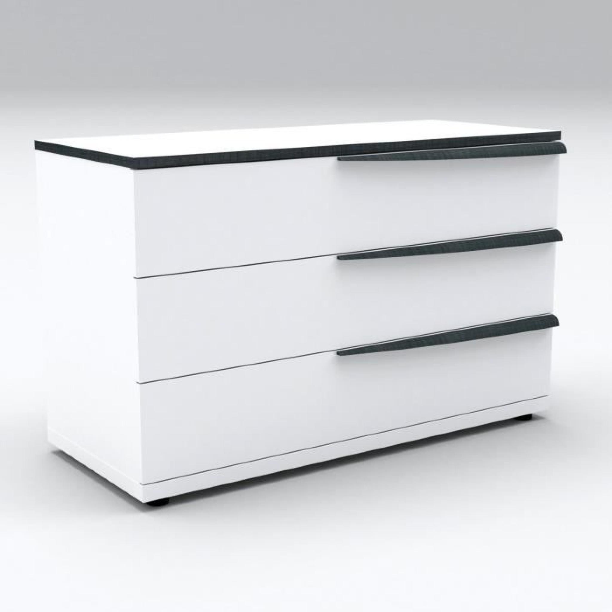 vision commode 120 cm laqu blanc d cor gris fonc achat vente commode pas cher couleur et. Black Bedroom Furniture Sets. Home Design Ideas