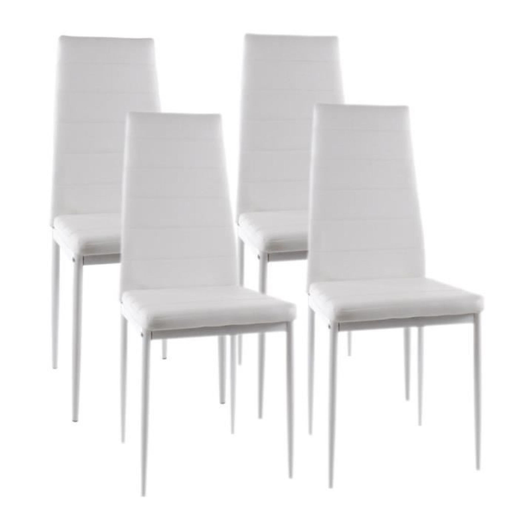 vogue lot de 4 chaises de salle manger blanches achat vente chaise salle a manger pas cher. Black Bedroom Furniture Sets. Home Design Ideas